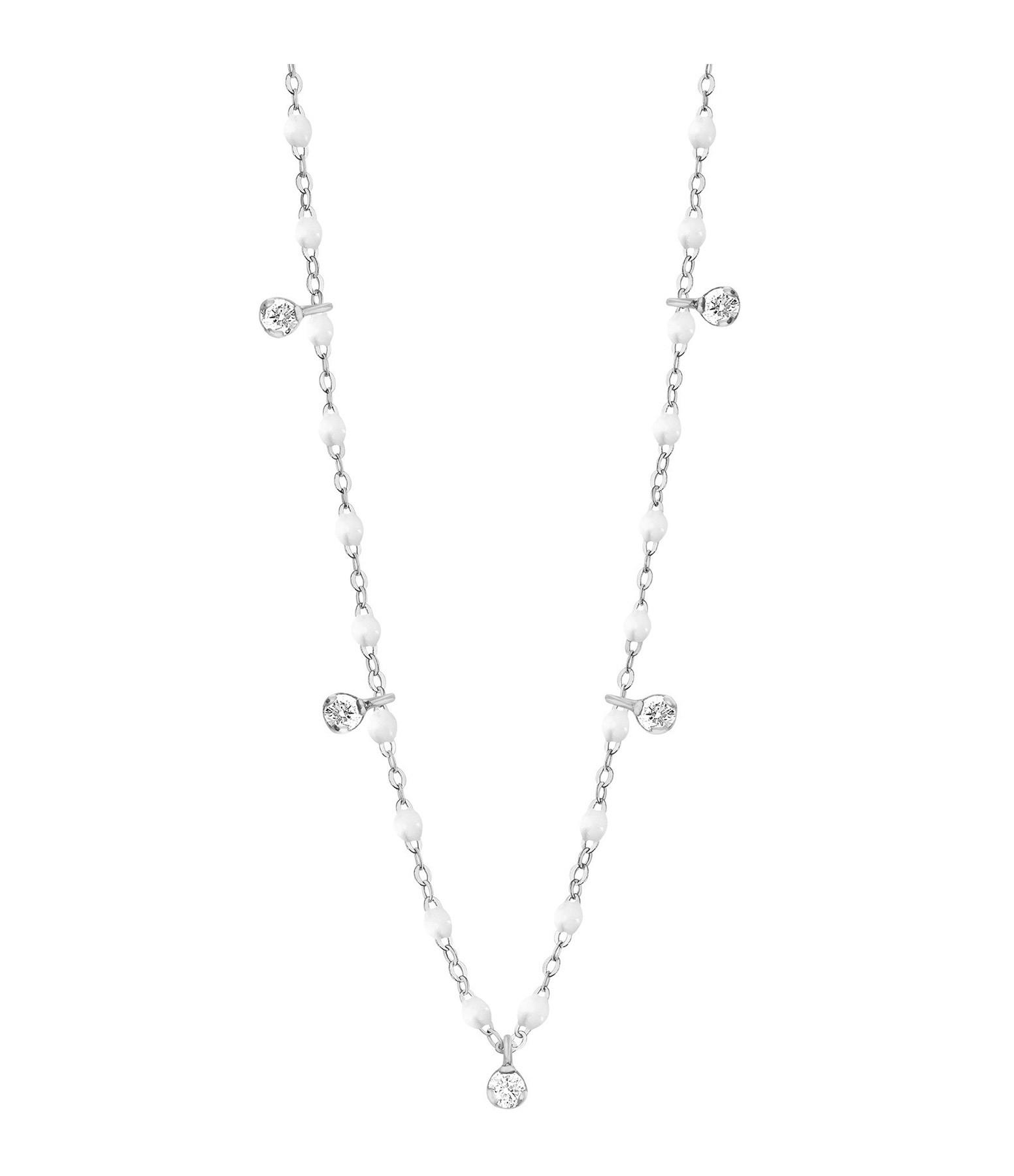 GIGI CLOZEAU - Collier résine Gigi Suprême 5 Diamants Or gris
