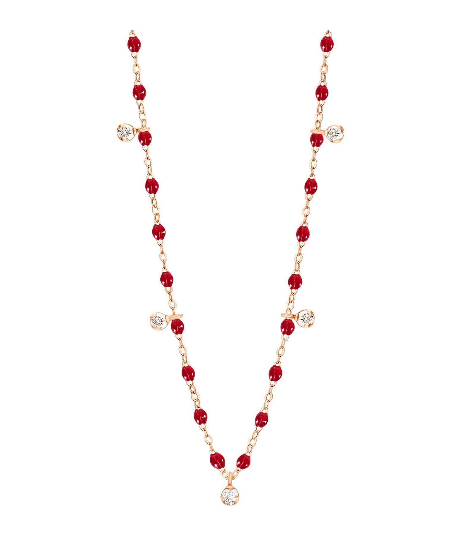 GIGI CLOZEAU - Collier résine Gigi Suprême 5 Diamants Or rose