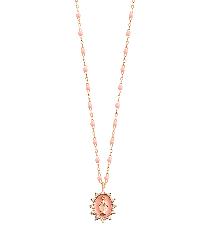 GIGI CLOZEAU - Collier Petite Madone Suprême Perles Résine Or Diamants 50 cm