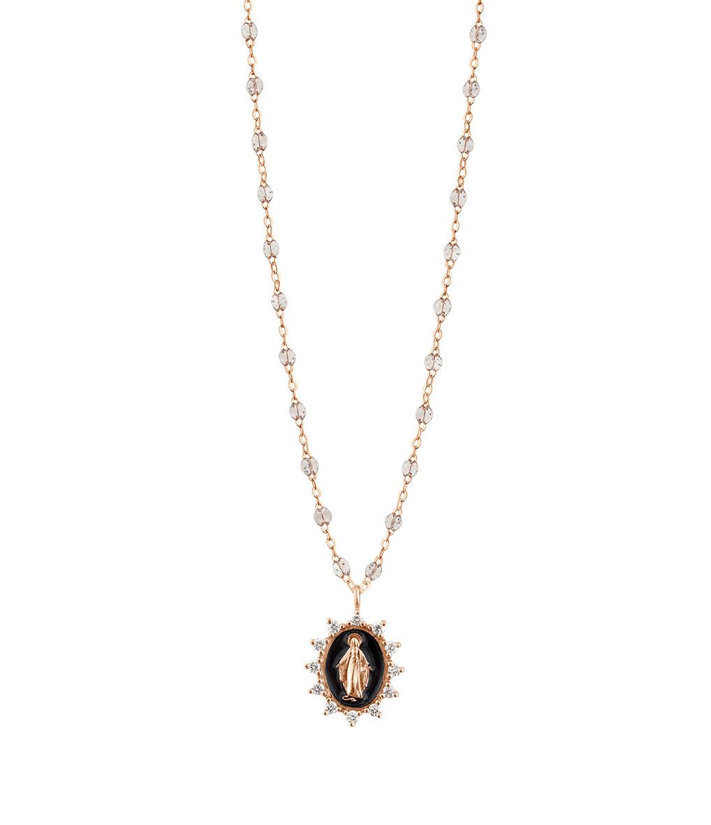 GIGI CLOZEAU - Collier Madone Suprême Perles Résines Transparentes Or Diamants 50 cm