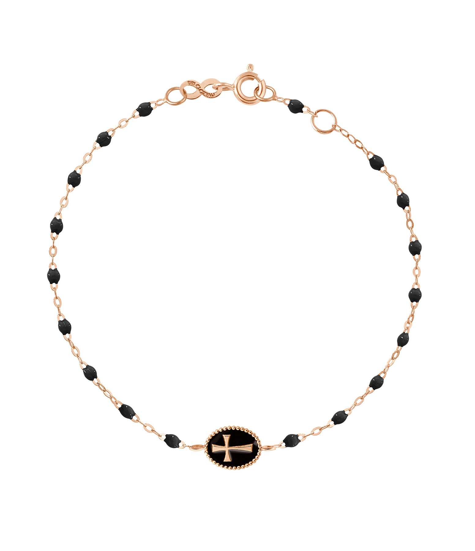 GIGI CLOZEAU - Bracelet Croix Perles Résines Transparentes Or