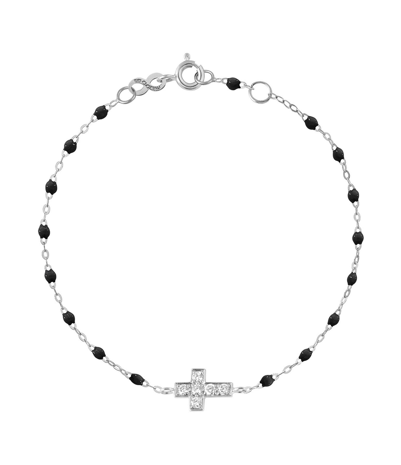 GIGI CLOZEAU - Bracelet Résine Croix Diamants Or gris