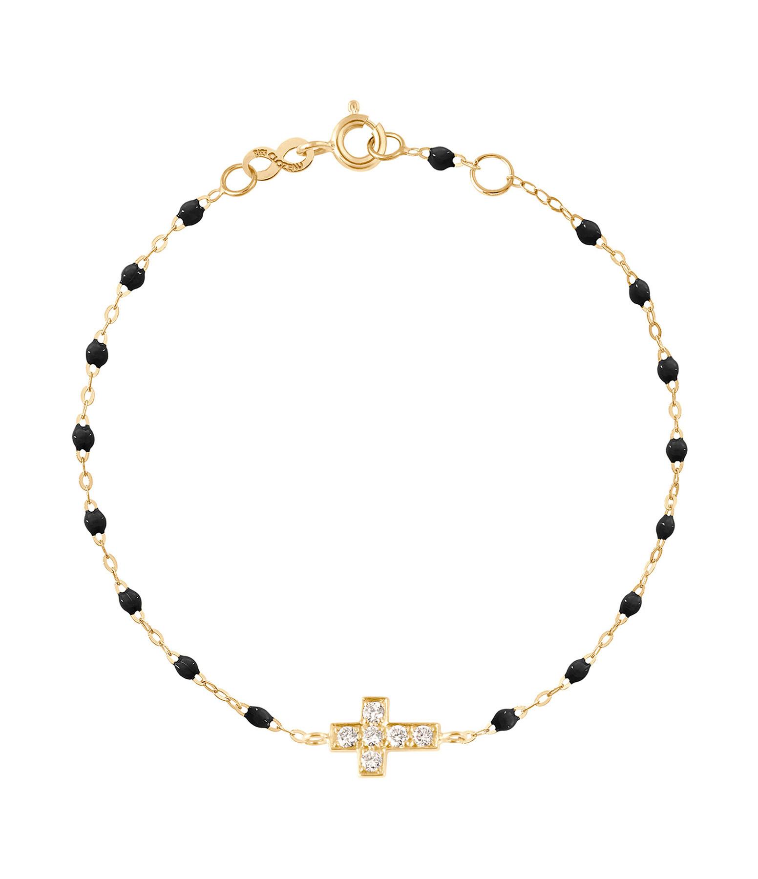 GIGI CLOZEAU - Bracelet Résine Croix Diamants Or jaune