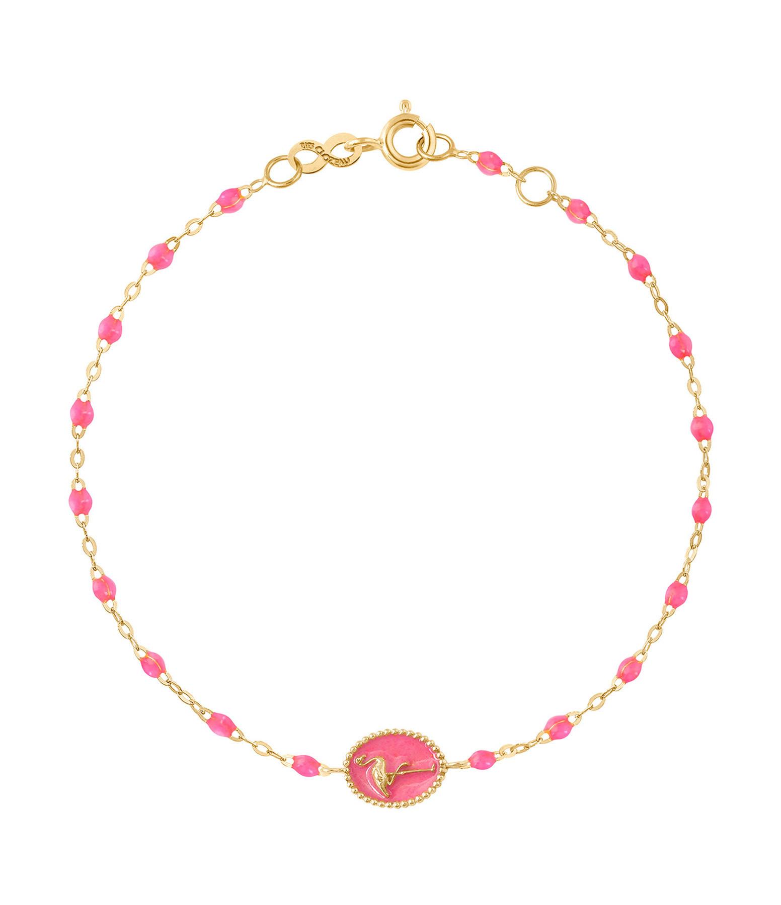 GIGI CLOZEAU - Bracelet Flamant Rose Perles Résine OJ Rose Fluo