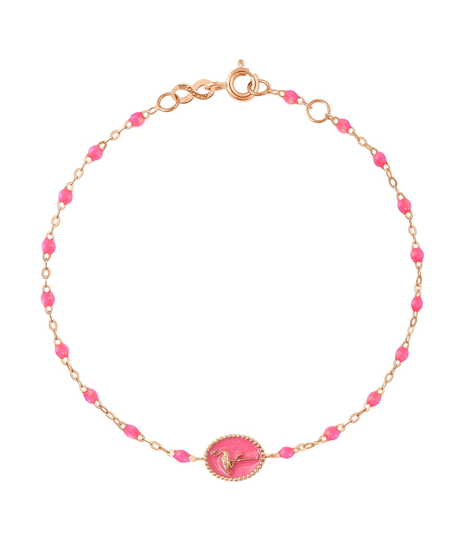 GIGI CLOZEAU - Bracelet Flamant Rose Perles Résine OR Rose Fluo