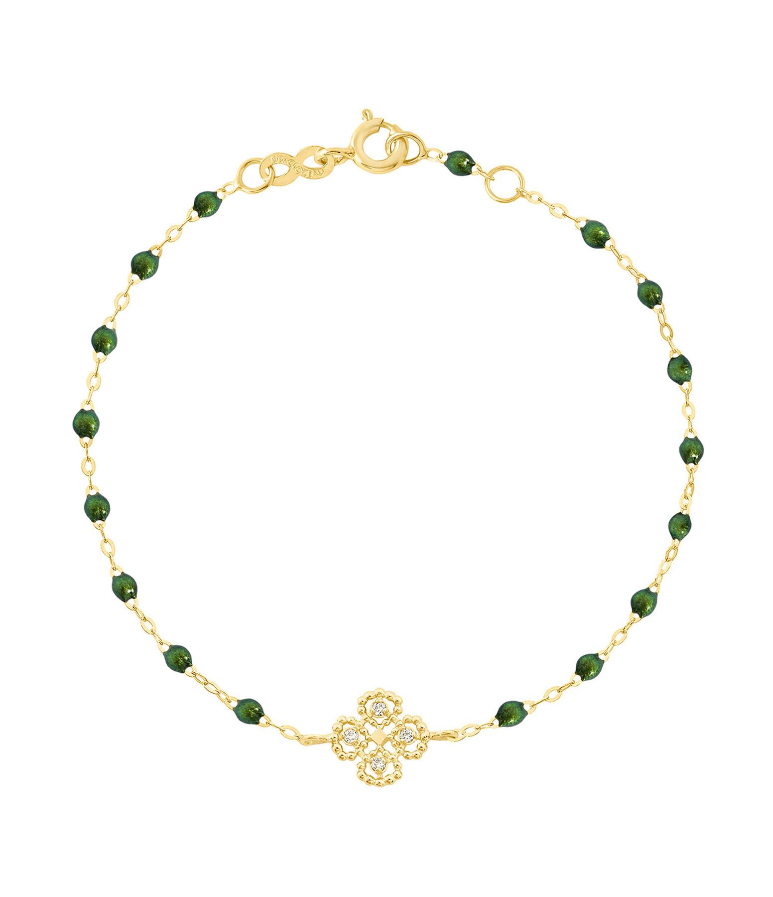 GIGI CLOZEAU - Bracelet Résine Lucky Trèfle Diamants Or jaune