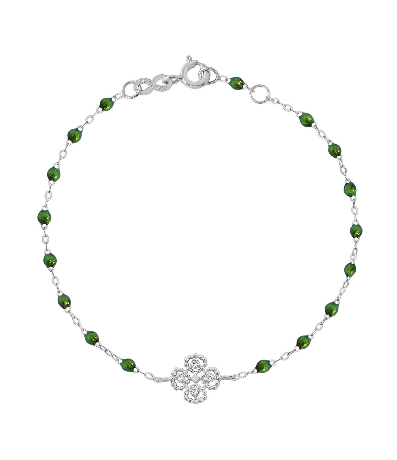 GIGI CLOZEAU - Bracelet Résine Lucky Trèfle Diamants Or gris
