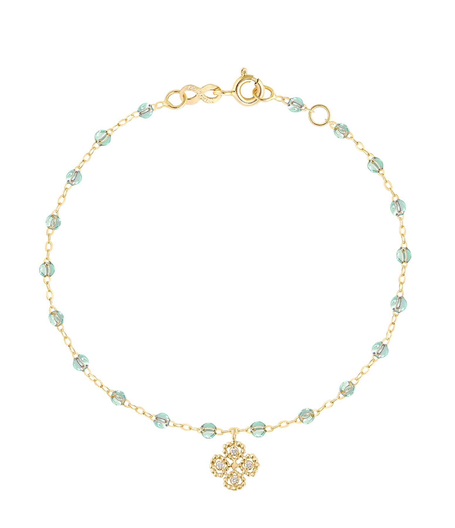 GIGI CLOZEAU - Bracelet Perles Résine Trèfle Or