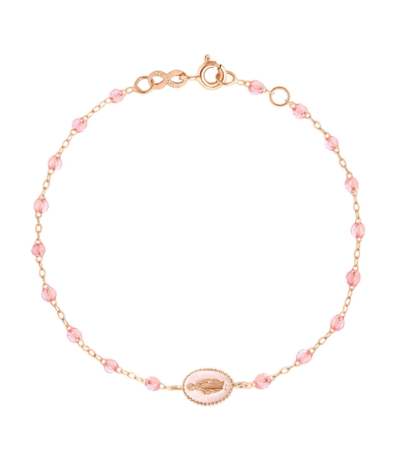 GIGI CLOZEAU - Bracelet Perles Résine Médaille Madone Transparents Or Gris