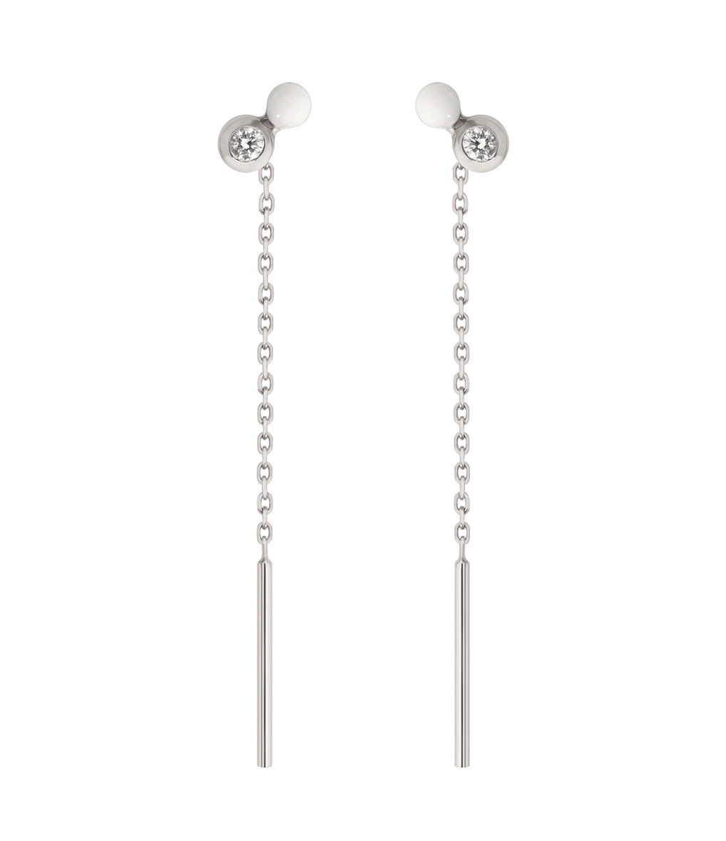 Boucles d'oreilles Pendantes Double Puce Diamant - CLOZEAU