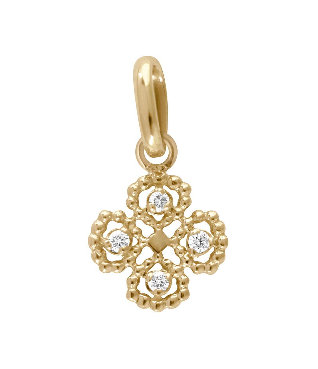 GIGI CLOZEAU - Pendentif Charm Trèfle Lucky Diamants