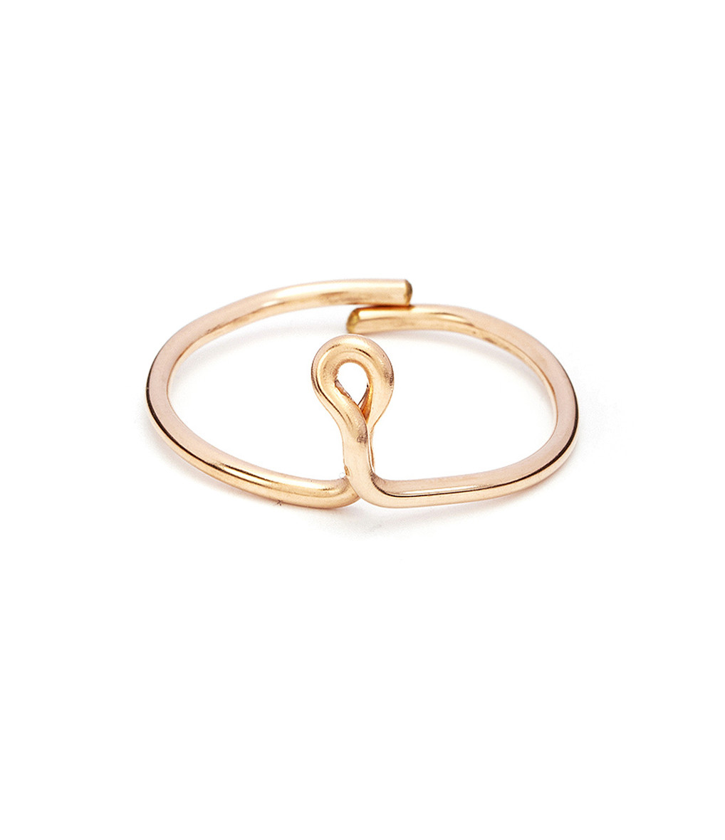 Bague Lettre Fil Gold Filled Rose - Atelier Paulin