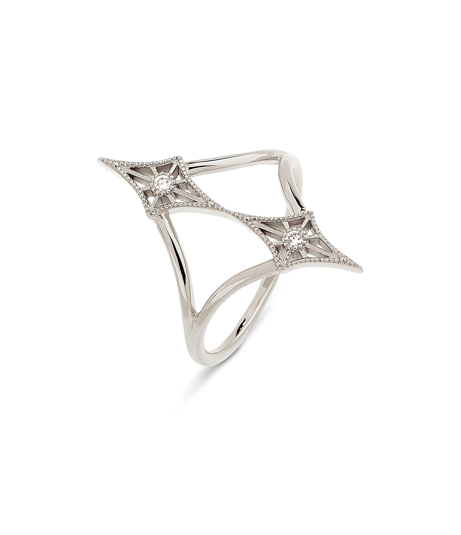 NAVA JOAILLERIE - Bague Cheyenne Losange Double Diamants Or Blanc