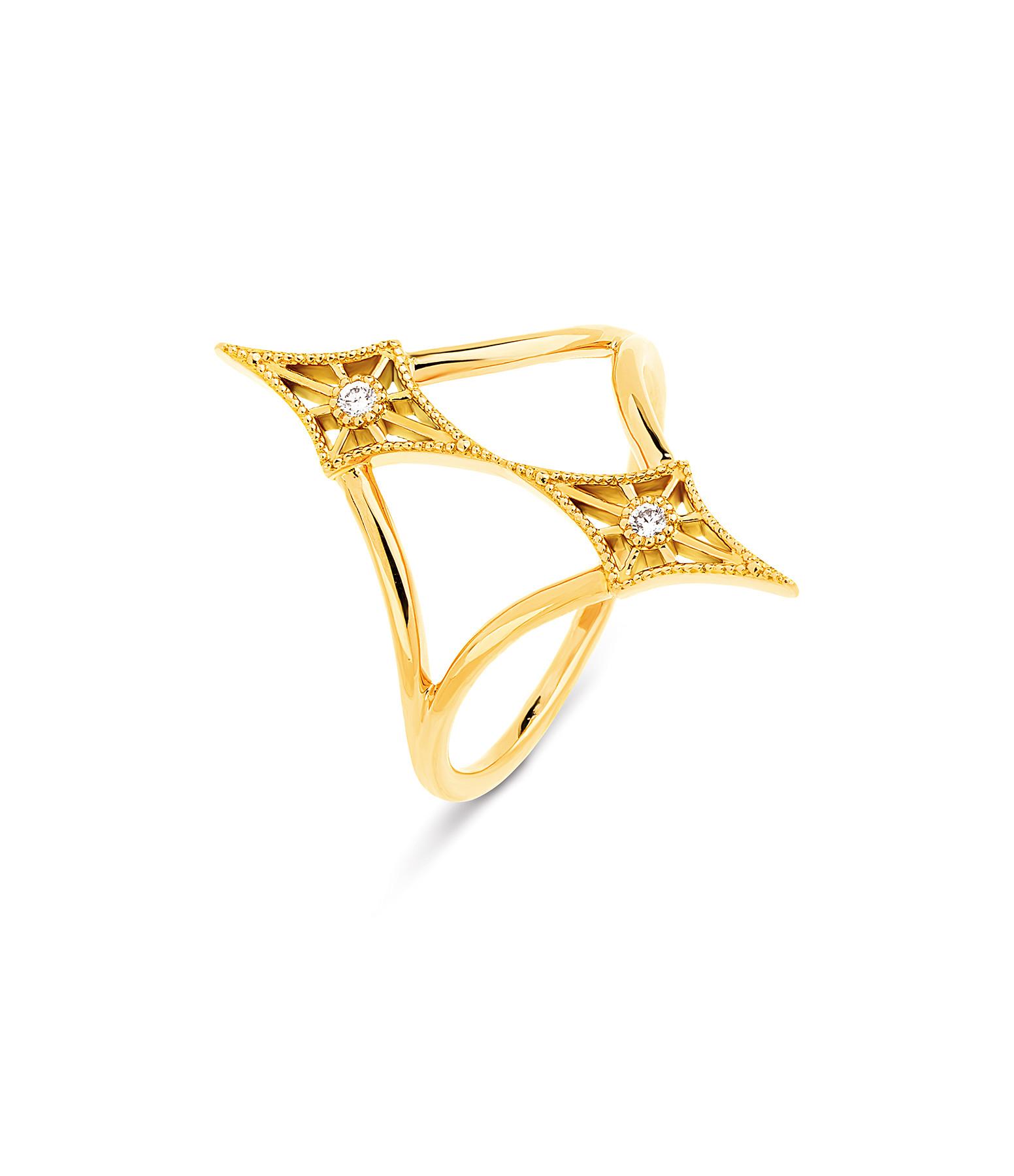 NAVA JOAILLERIE - Bague Cheyenne Losange Double Diamants Or Jaune