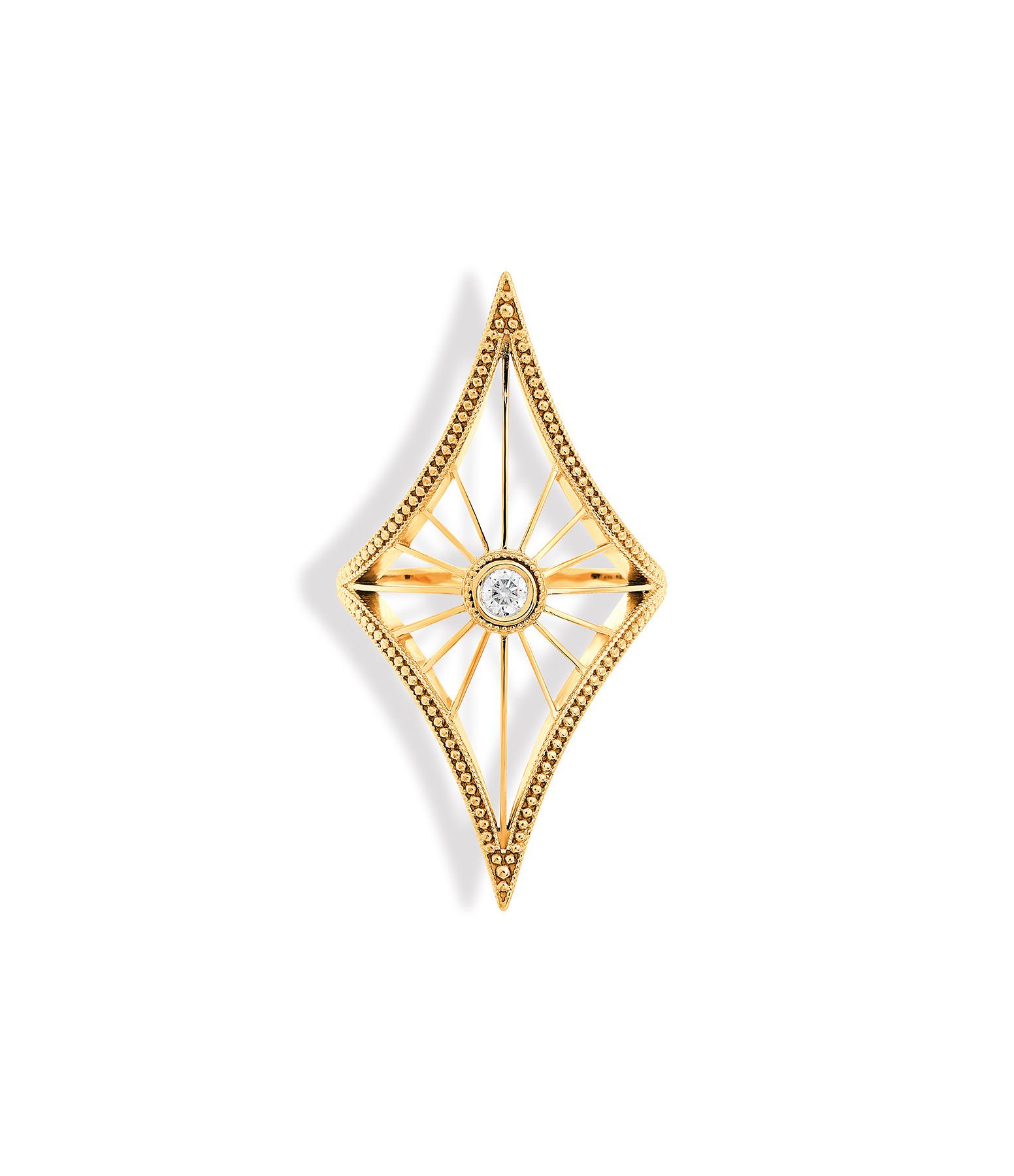NAVA JOAILLERIE - Bague Cheyenne Losange Diamants Or Jaune