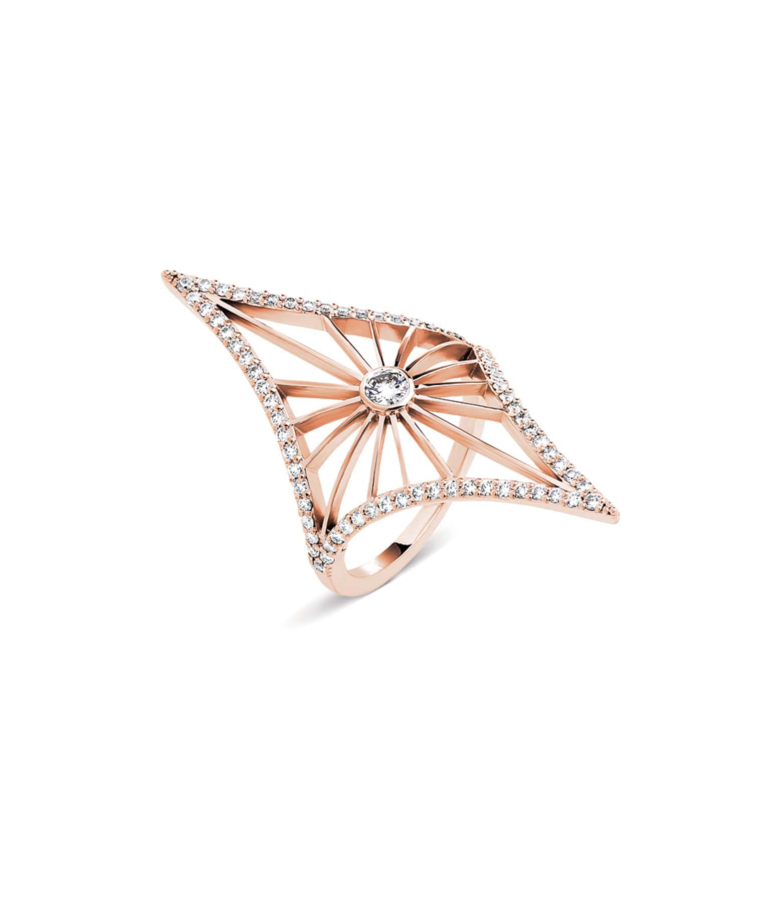NAVA JOAILLERIE - Bague Cheyenne Losange Diamants Or Rose