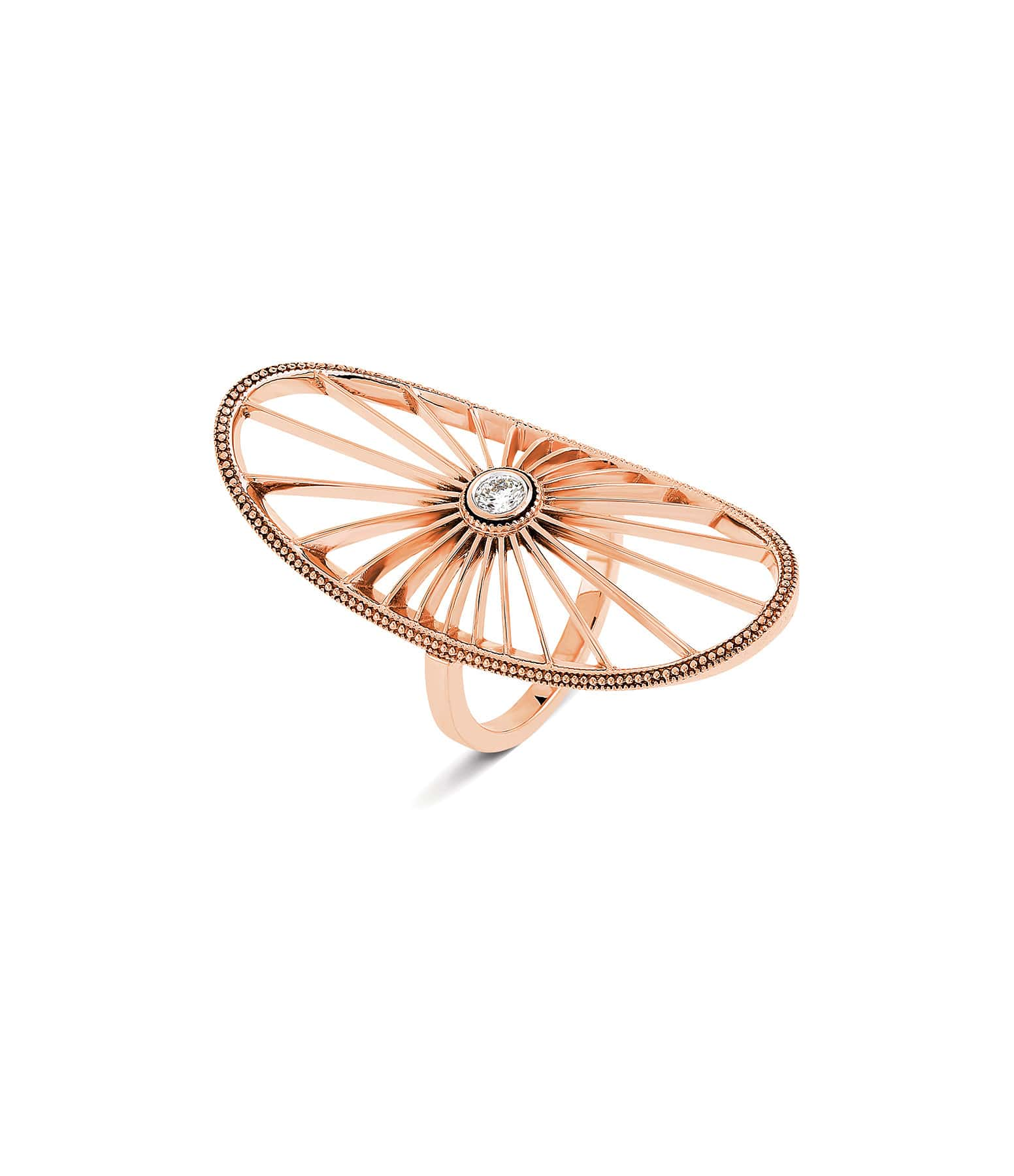 NAVA JOAILLERIE - Bague Cheyenne Ovale Diamants Or Rose