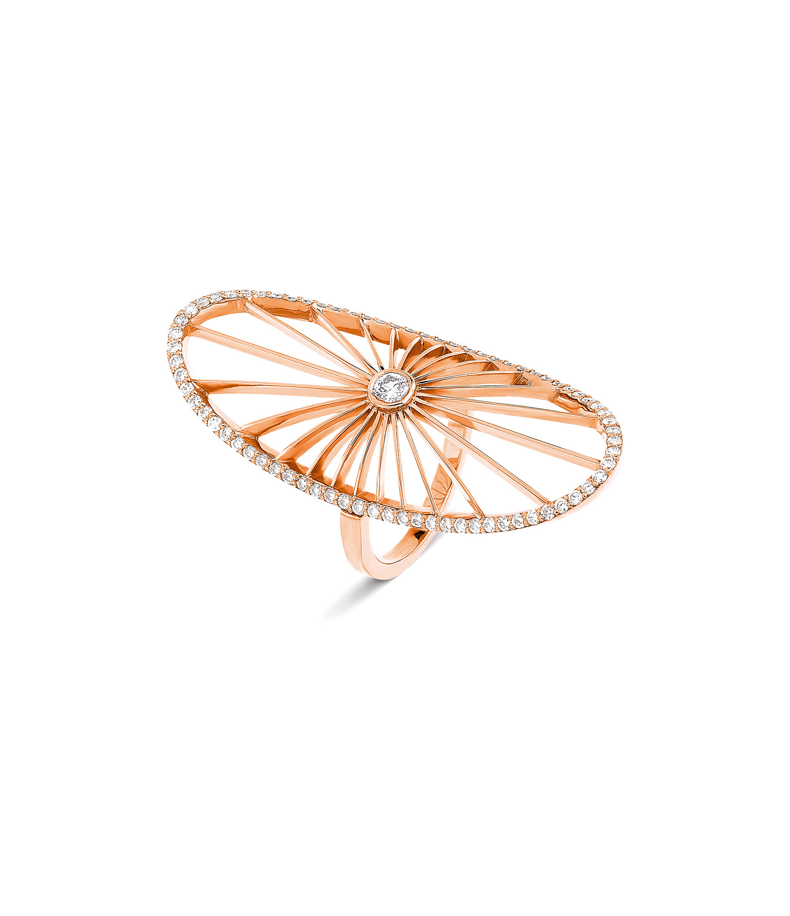 NAVA JOAILLERIE - Bague Cheyenne Ovale Diamants Or Rose