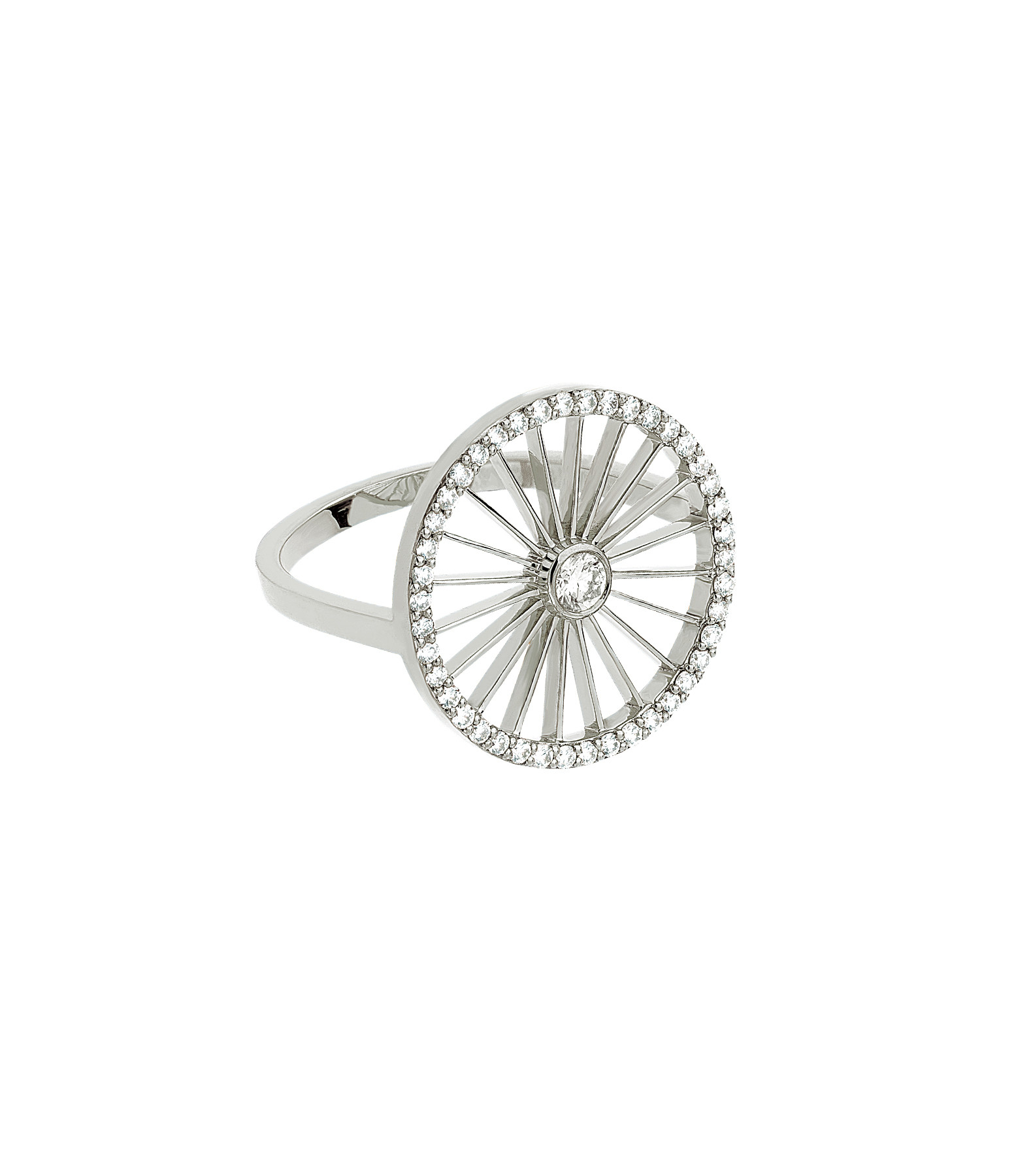 NAVA JOAILLERIE - Bague Cheyenne Plate Ronde Diamants Or Blanc