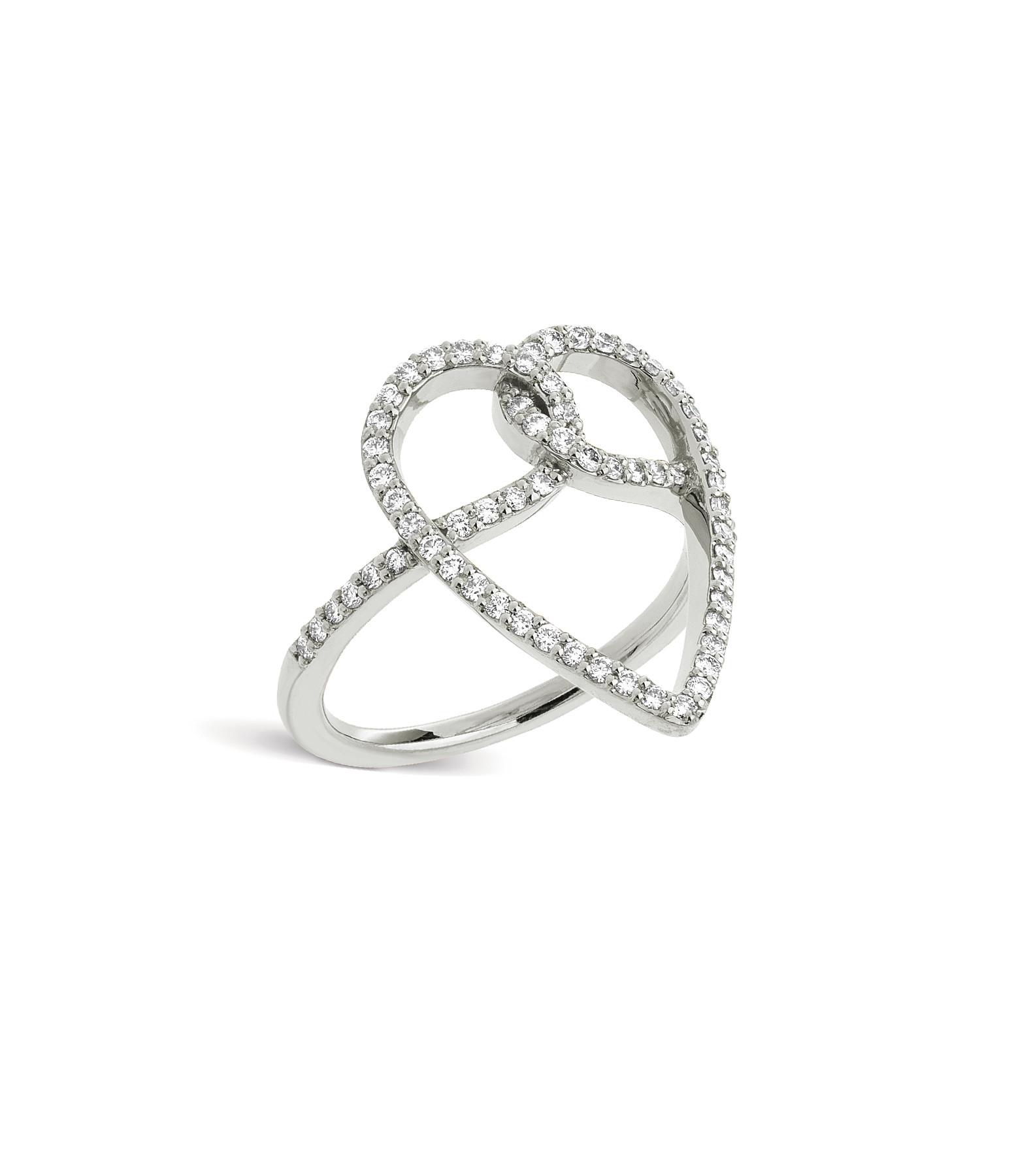 NAVA JOAILLERIE - Bague Joli CÂœur Diamants Or Blanc
