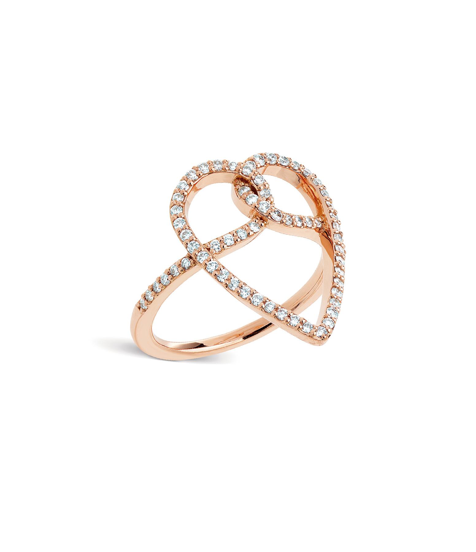 NAVA JOAILLERIE - Bague Joli CÂœur Diamants Or Rose