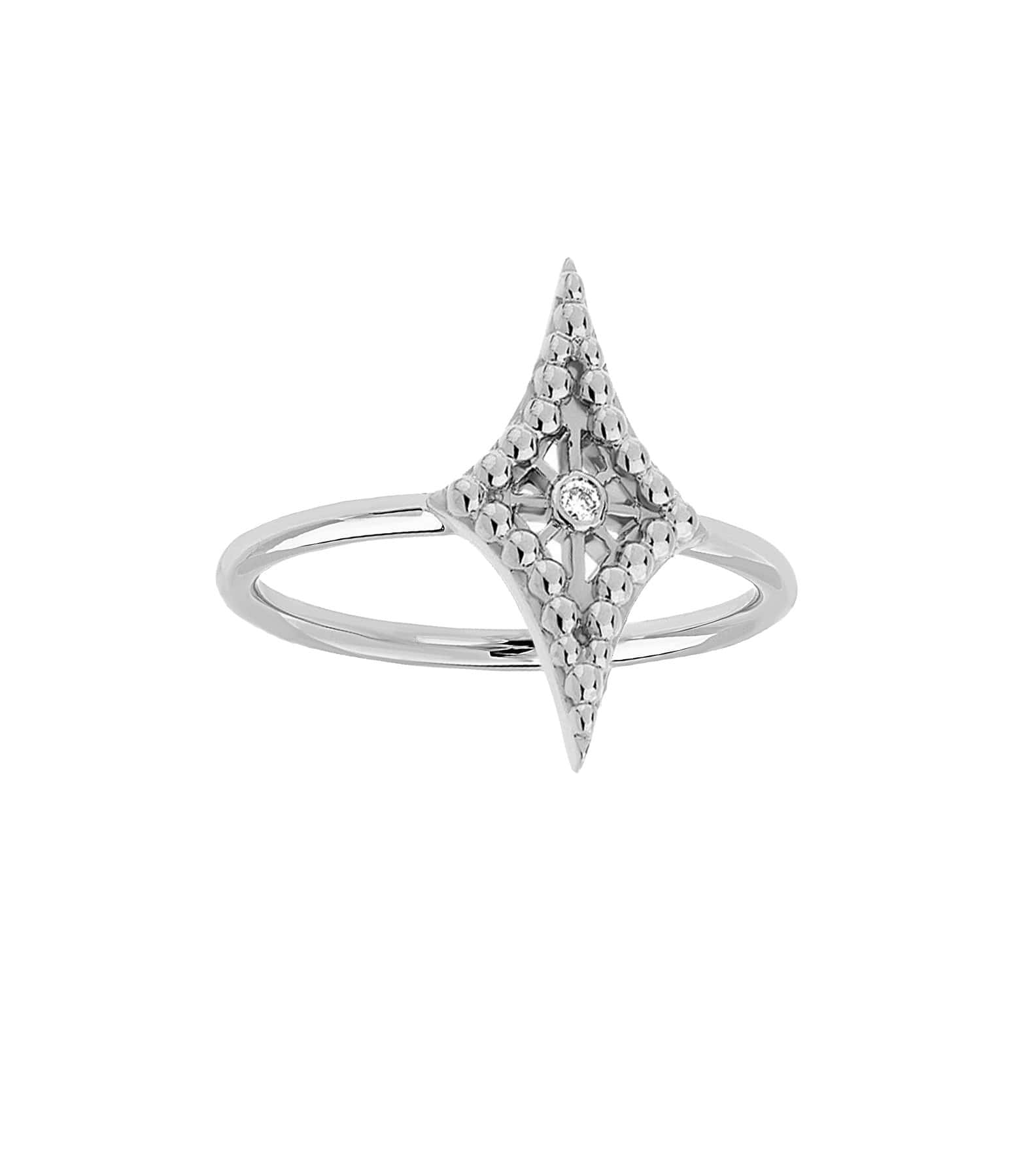 NAVA JOAILLERIE - Bague Mini-Cheyenne Losange Diamants Or Blanc