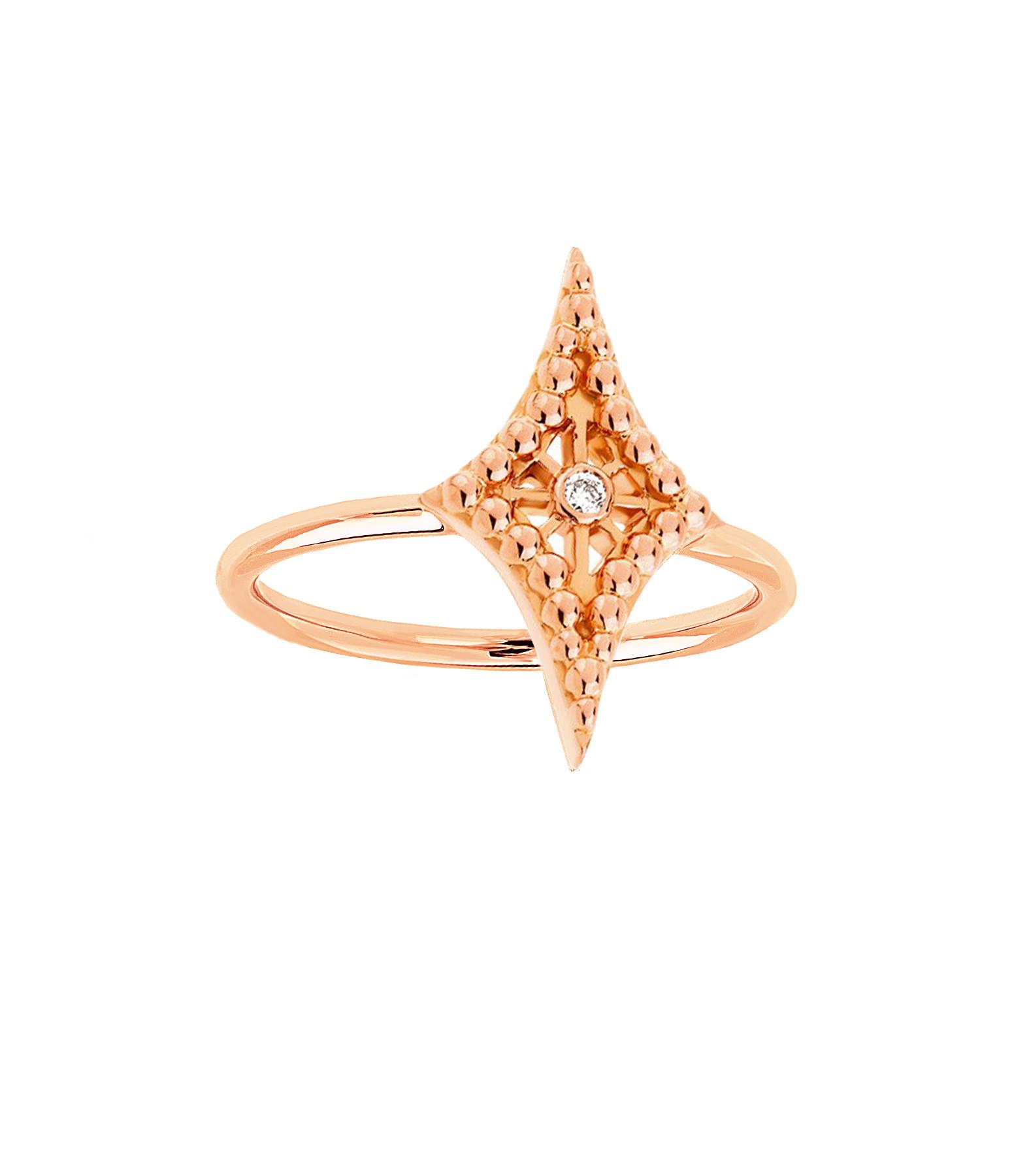 NAVA JOAILLERIE - Bague Mini-Cheyenne Losange Diamants Or Rose