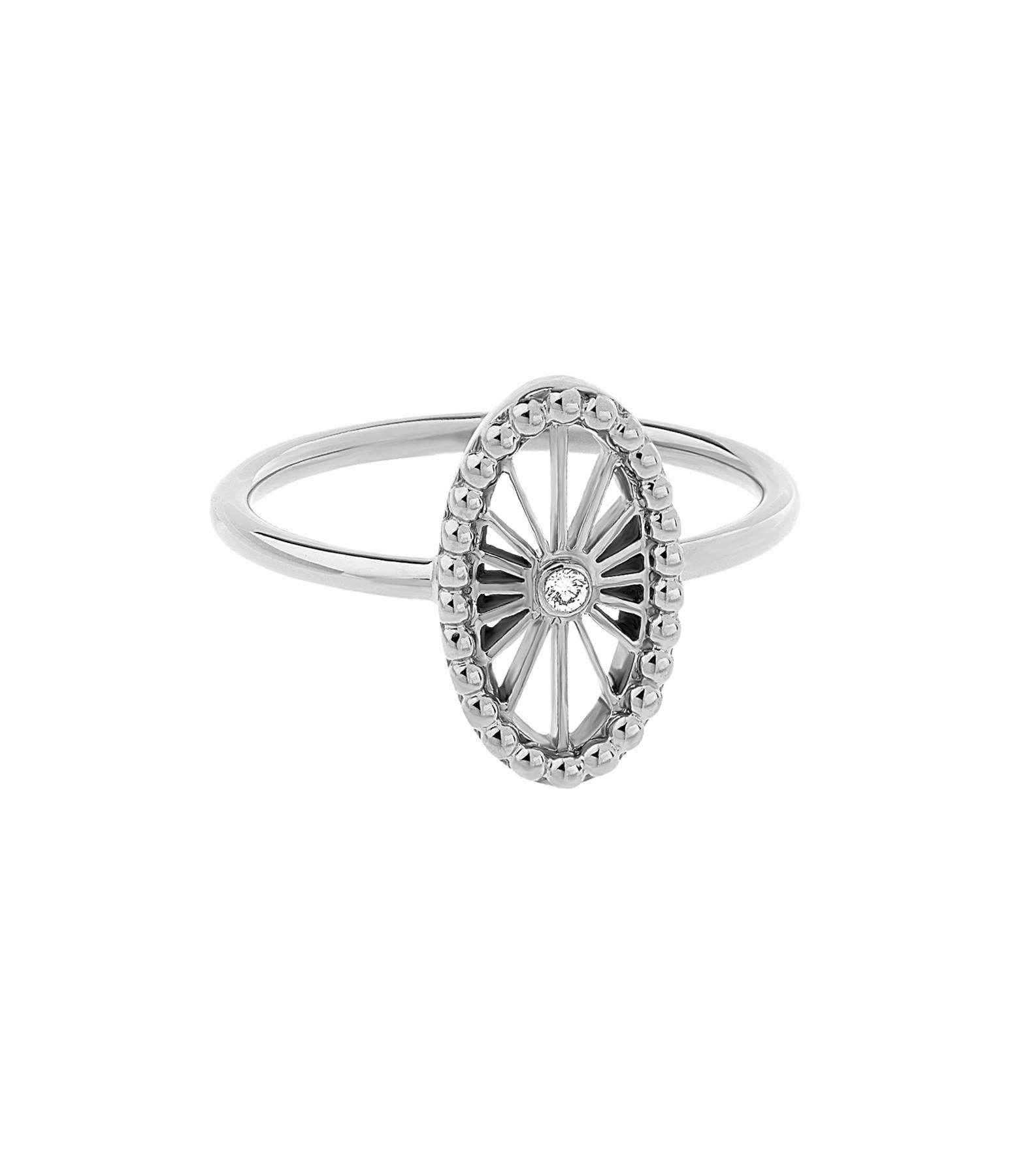NAVA JOAILLERIE - Bague Mini-Cheyenne Ovale Diamants Or Blanc