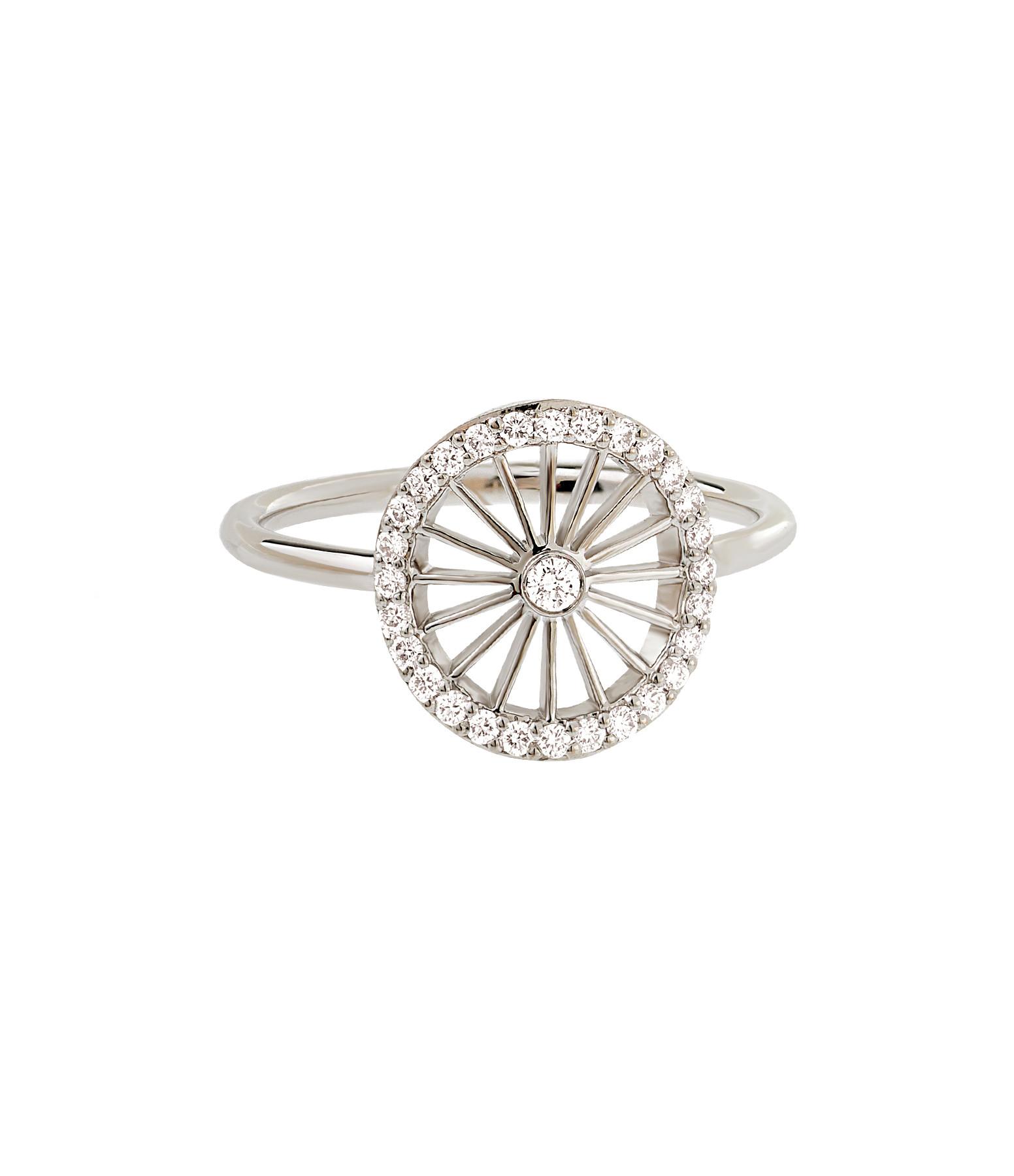 NAVA JOAILLERIE - Bague Cheyenne Ronde Diamants Or Blanc