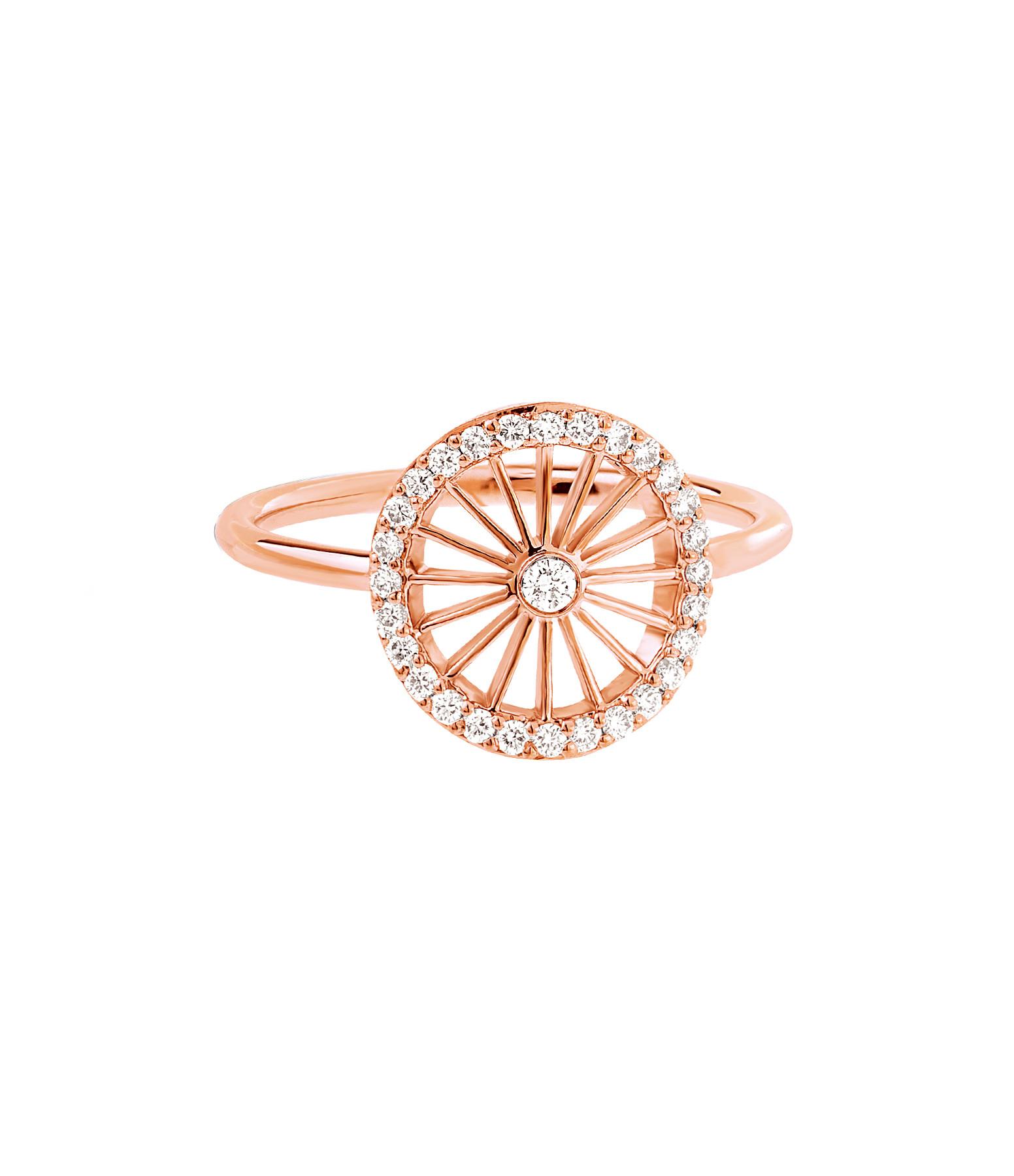 NAVA JOAILLERIE - Bague Cheyenne Ronde Diamants Or Rose