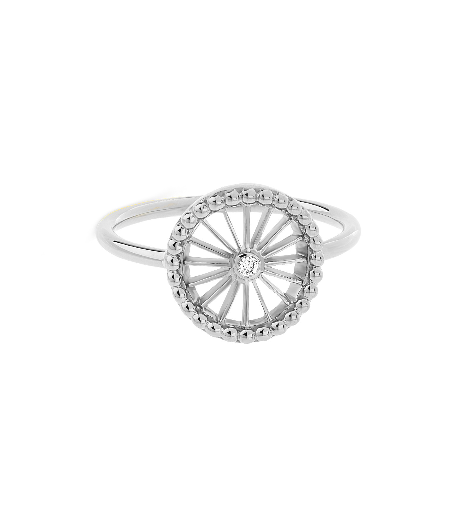 NAVA JOAILLERIE - Bague Mini-Cheyenne Ronde Diamants Or Blanc