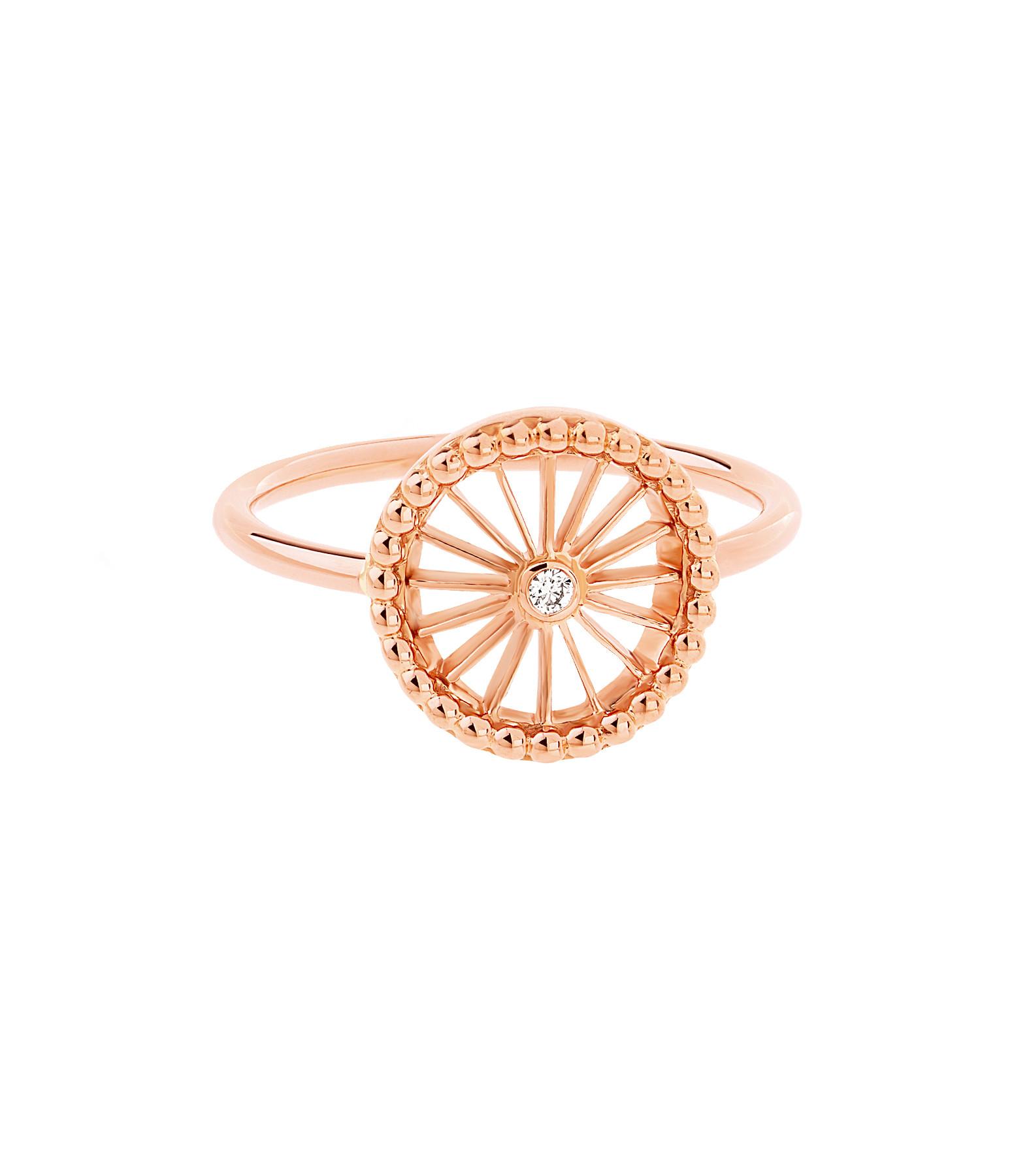 NAVA JOAILLERIE - Bague Mini-Cheyenne Ronde Diamants Or Rose