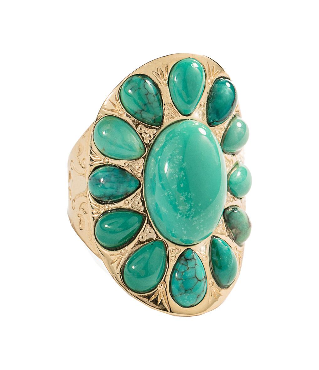 AURELIE BIDERMANN - Bague Navajo Turquoise Plaqué Or
