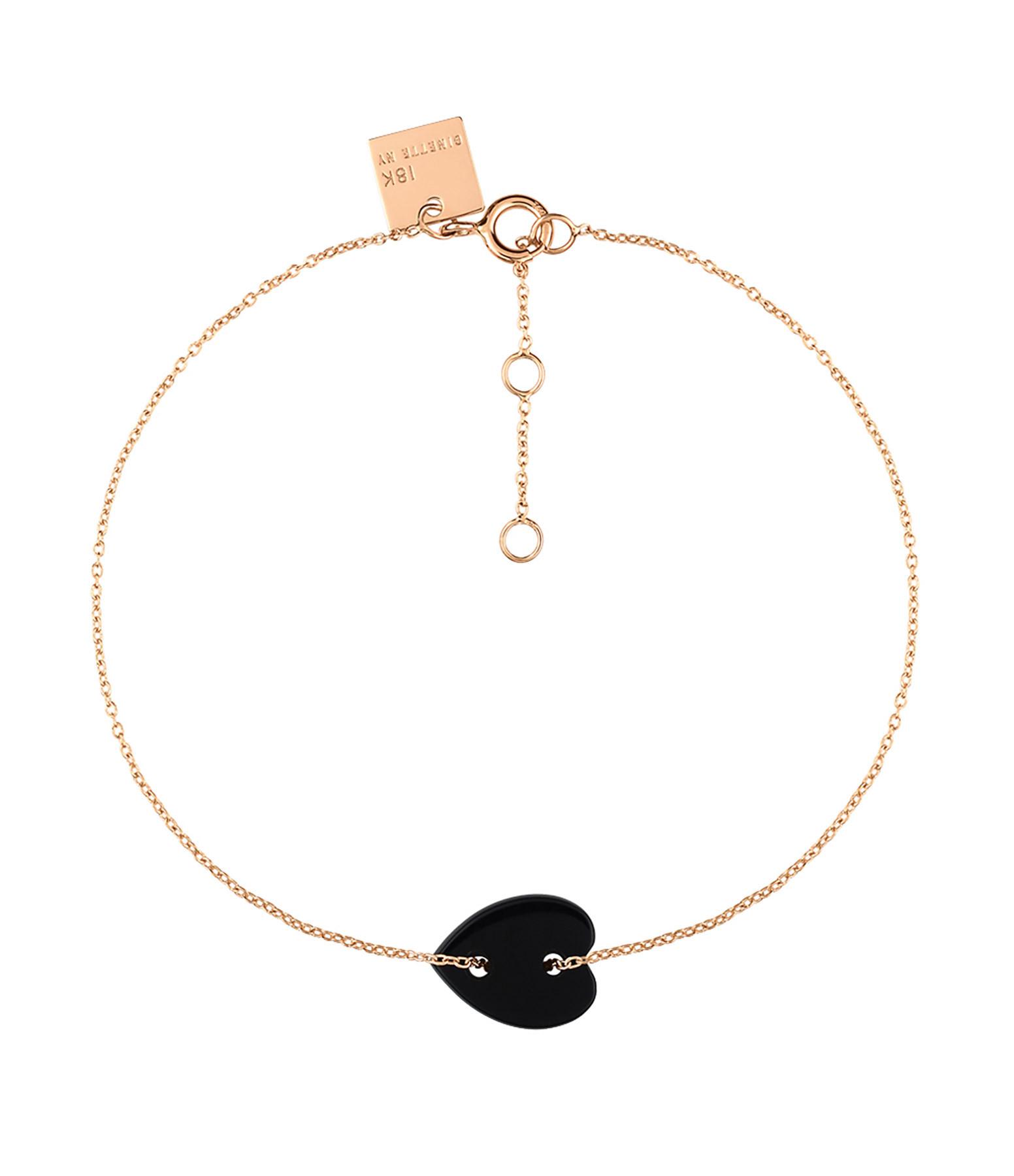 GINETTE_NY - Bracelet Angele Mini Coeur Onyx