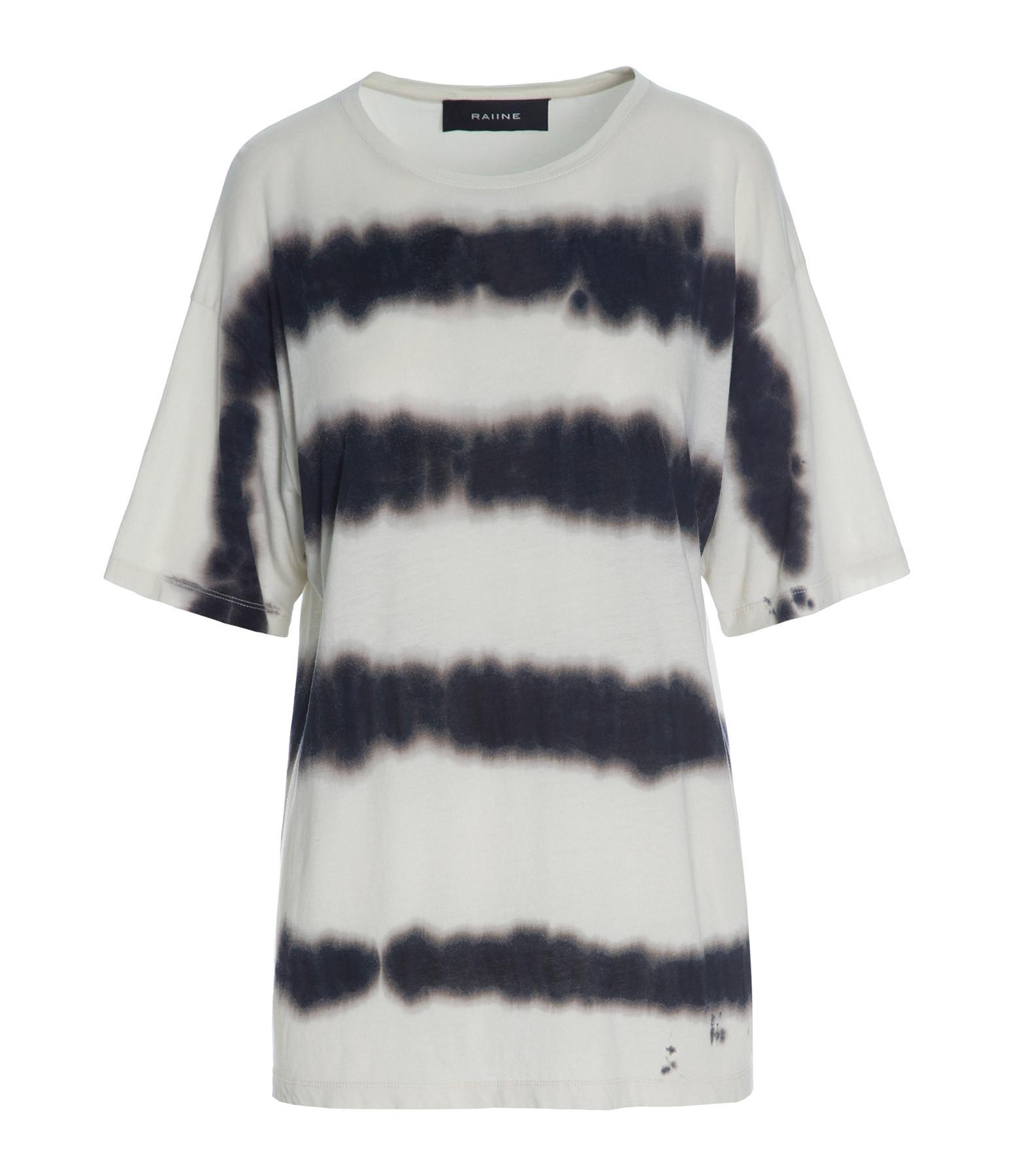 RAIINE - Tee-shirt Bayou Tie & Die Crème Noir