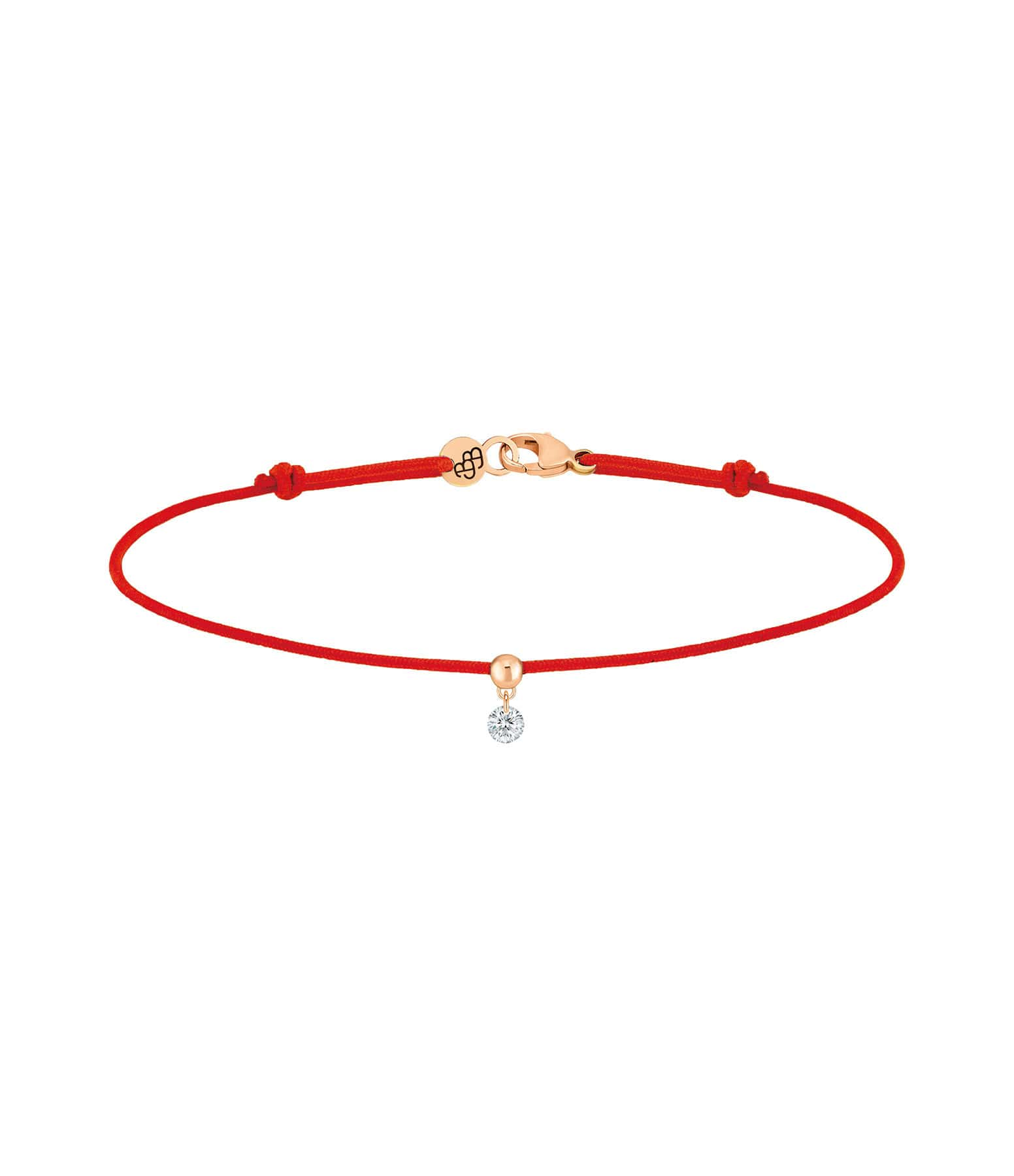 LA BRUNE & LA BLONDE - Bracelet BB Diamant Brillant Cordon Rouge Or Blanc