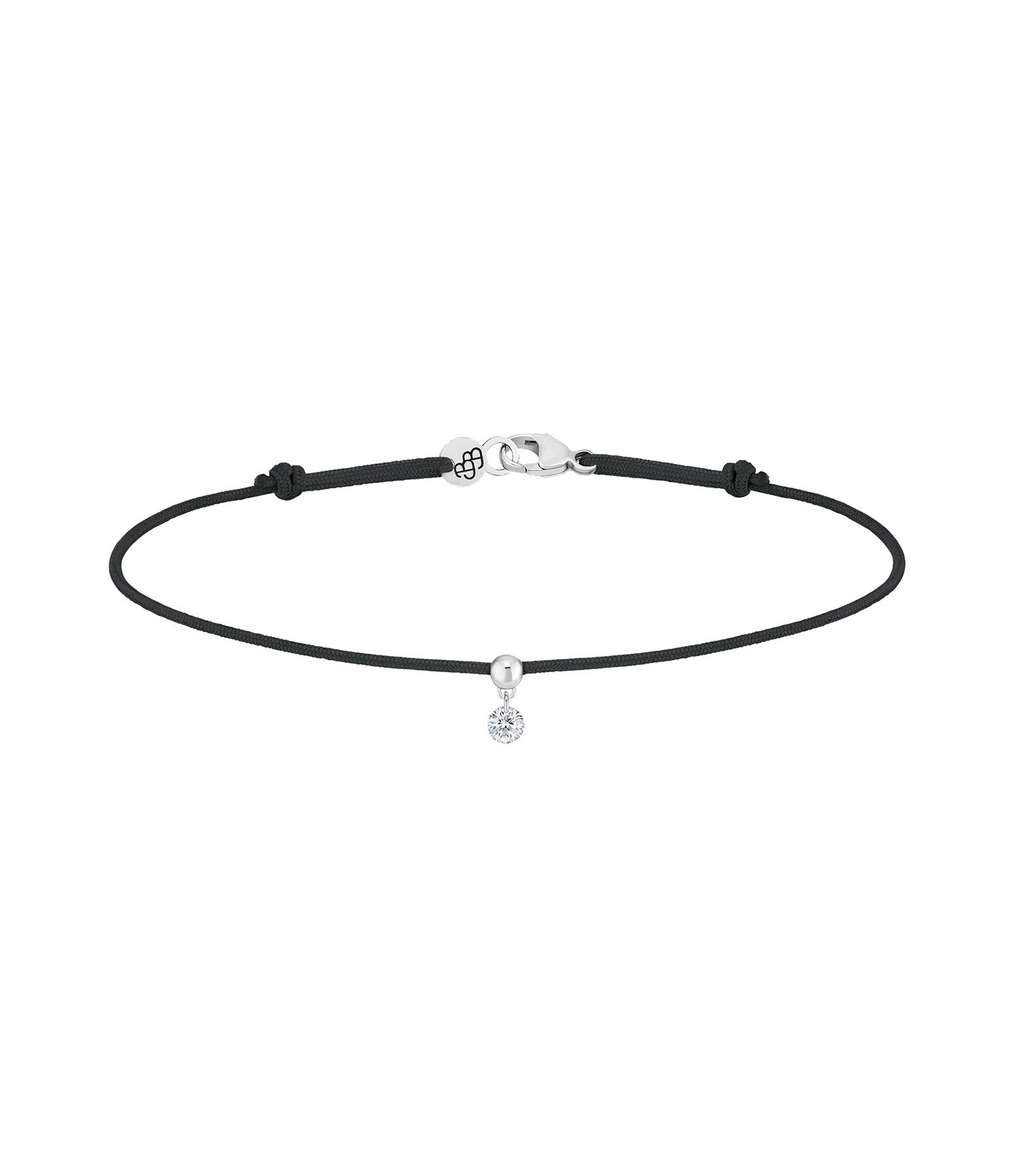 LA BRUNE & LA BLONDE - Bracelet BB Diamant Brillant Cordon Noir Or Blanc