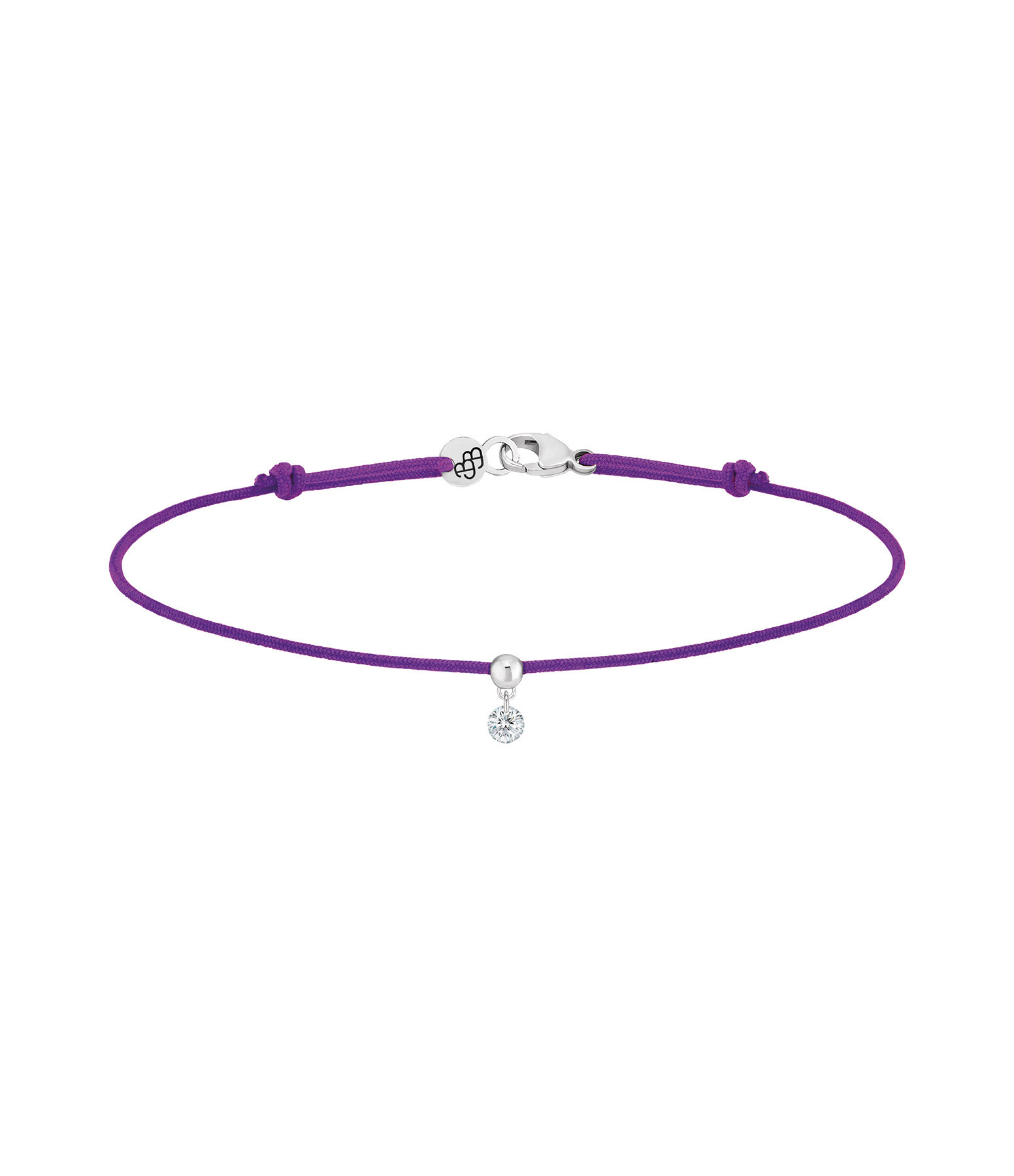 LA BRUNE & LA BLONDE - Bracelet BB Diamant Brillant Cordon Violet Or Jaune