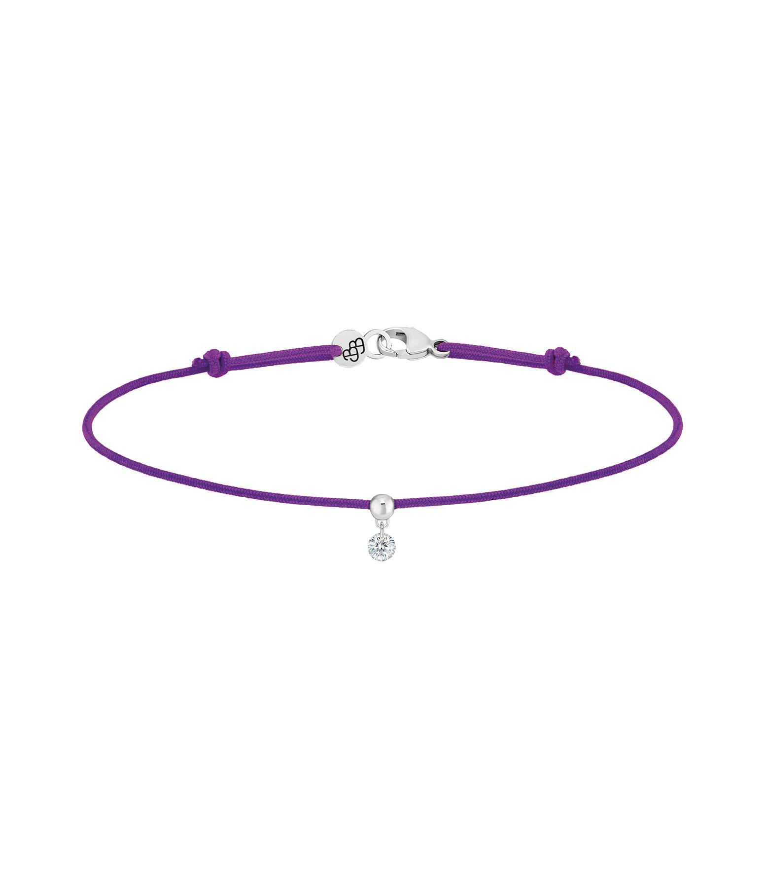LA BRUNE & LA BLONDE - Bracelet BB Diamant Brillant Cordon Violet Or Jaune
