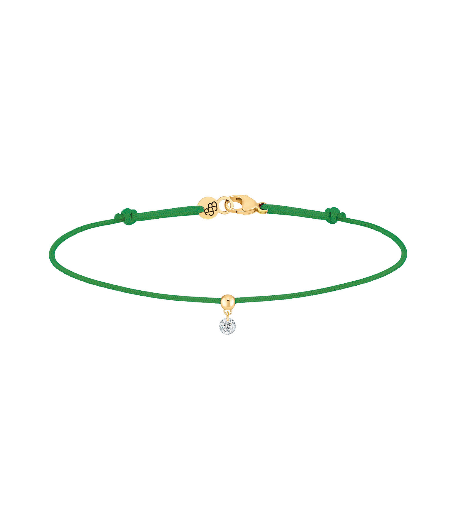 LA BRUNE & LA BLONDE - Bracelet BB Diamant Brillant Cordon Vert Or Jaune