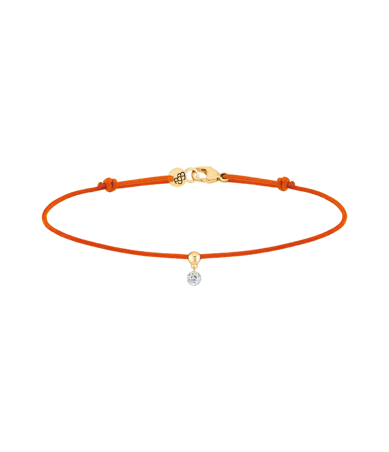 LA BRUNE & LA BLONDE - Bracelet BB Diamant Brillant Cordon Orange Or Jaune
