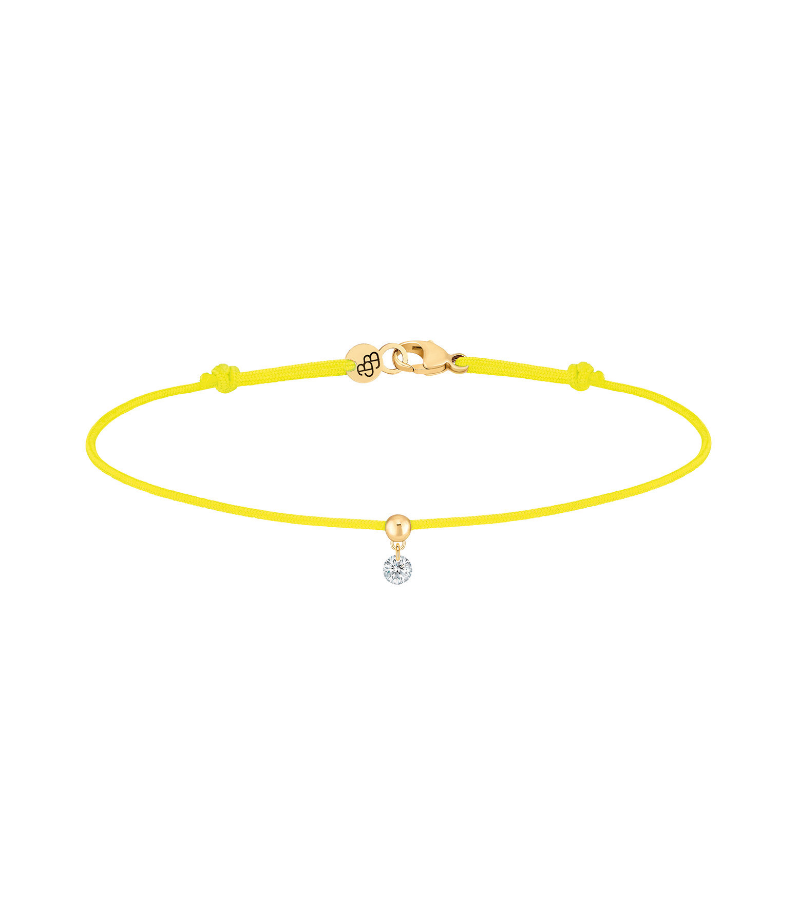LA BRUNE & LA BLONDE - Bracelet BB Diamant Brillant Cordon Jaune Fluo Or Jaune