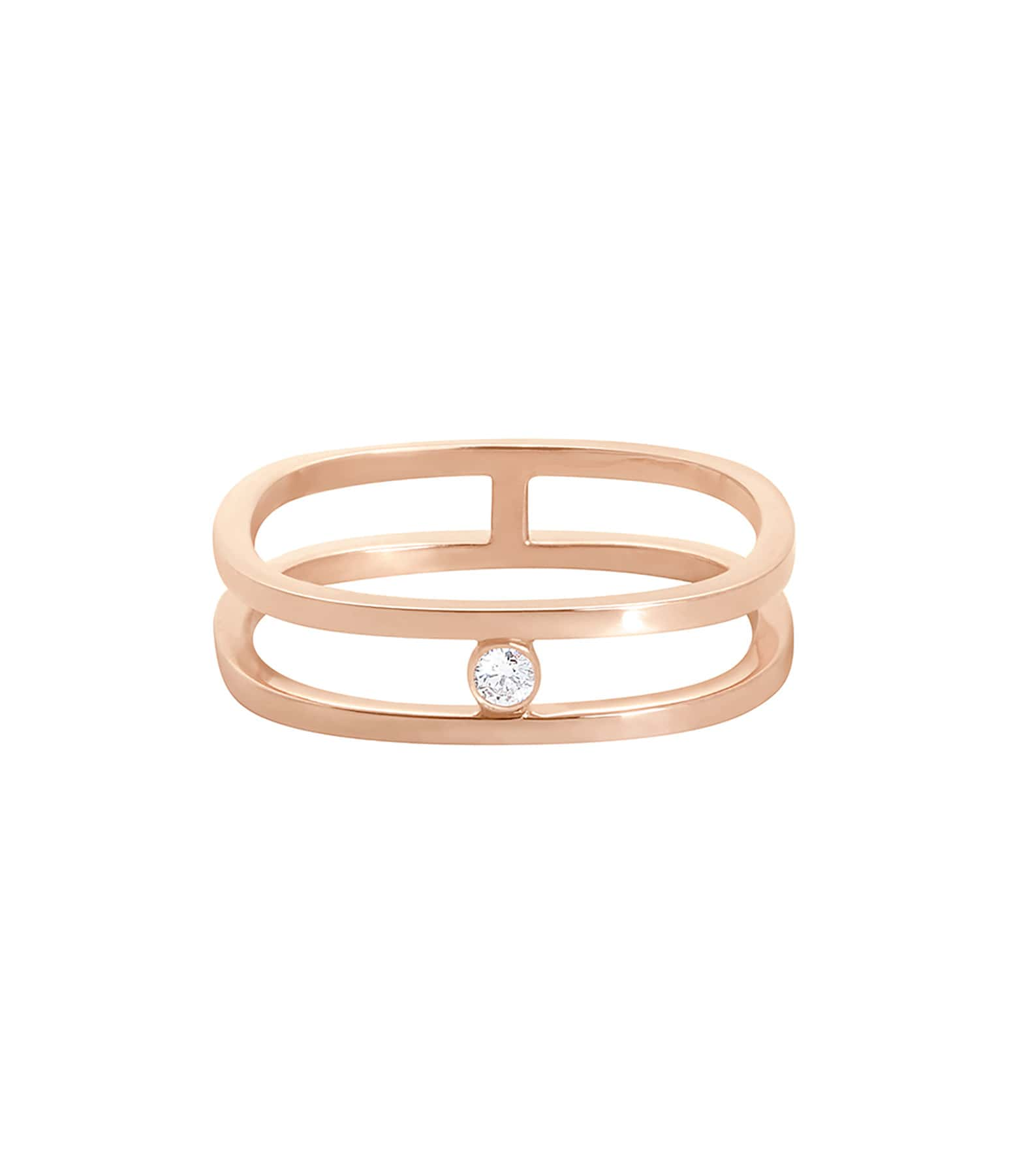 VANRYCKE - Bague Charlie Double Or Rose Diamant