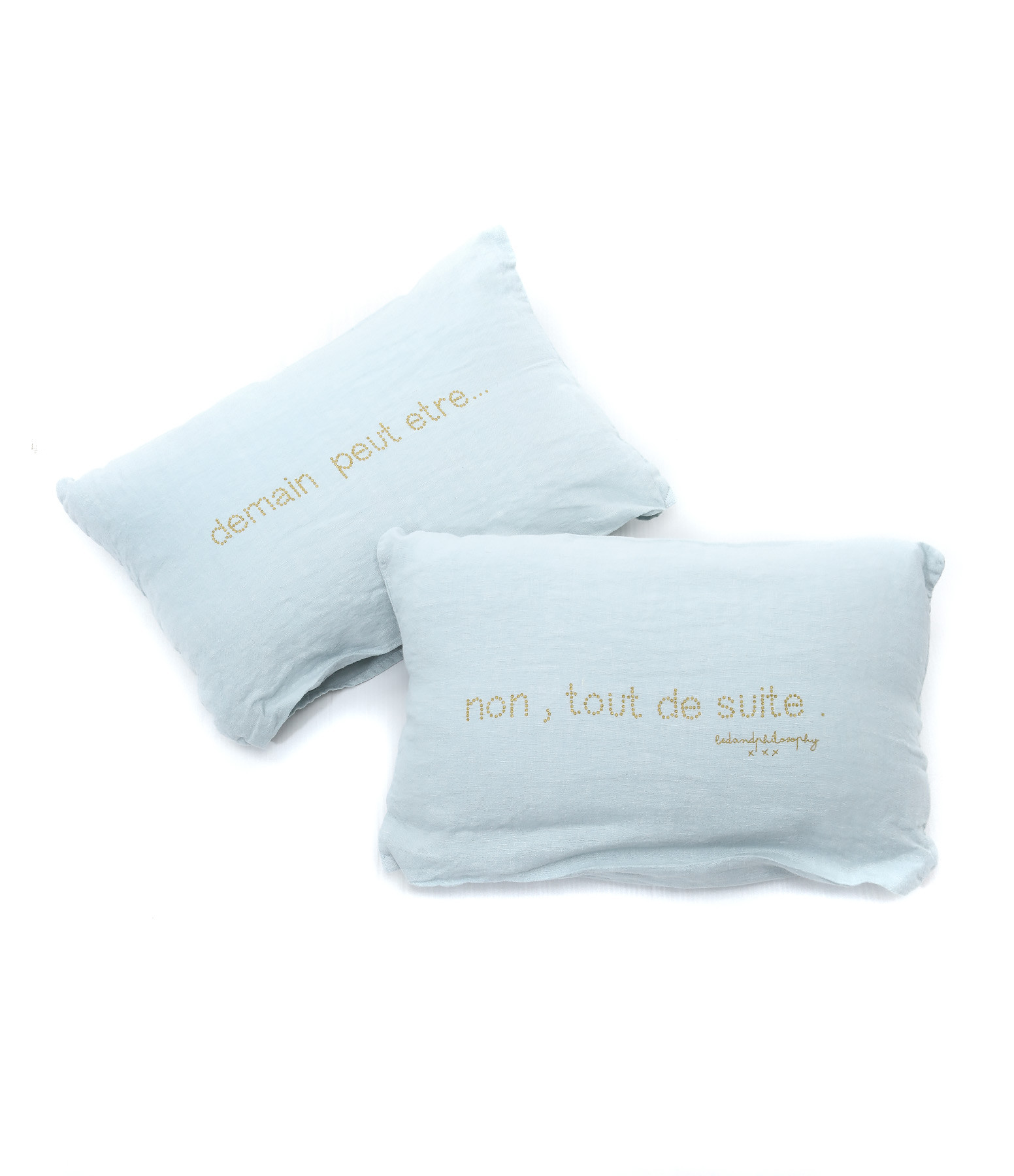 BED AND PHILOSOPHY - Lot 2 Coussins Switch Lin Aqua 40 x 25
