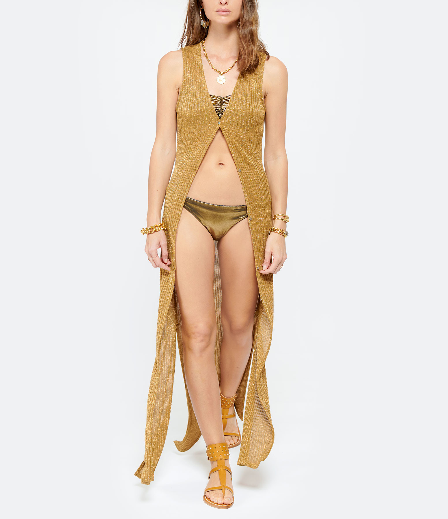 BELIZA - Robe Ima Maille Lurex Doré