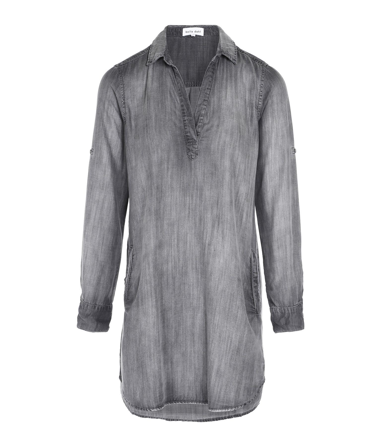 BELLA DAHL - Robe Chemise Denim Gris Artic