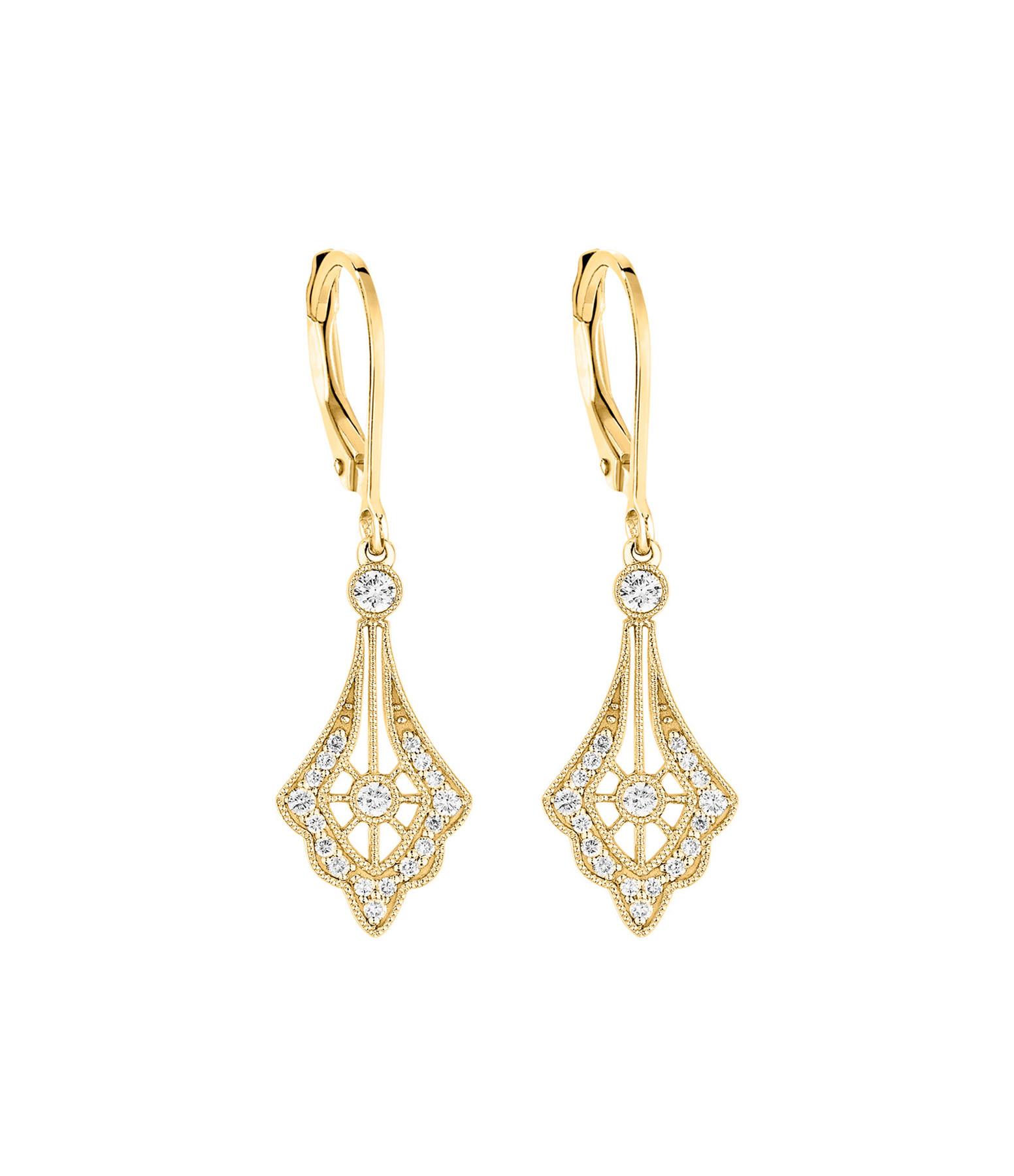 STONE PARIS - Boucles d'oreilles Dormeuses Belle Epoque Or Diamants