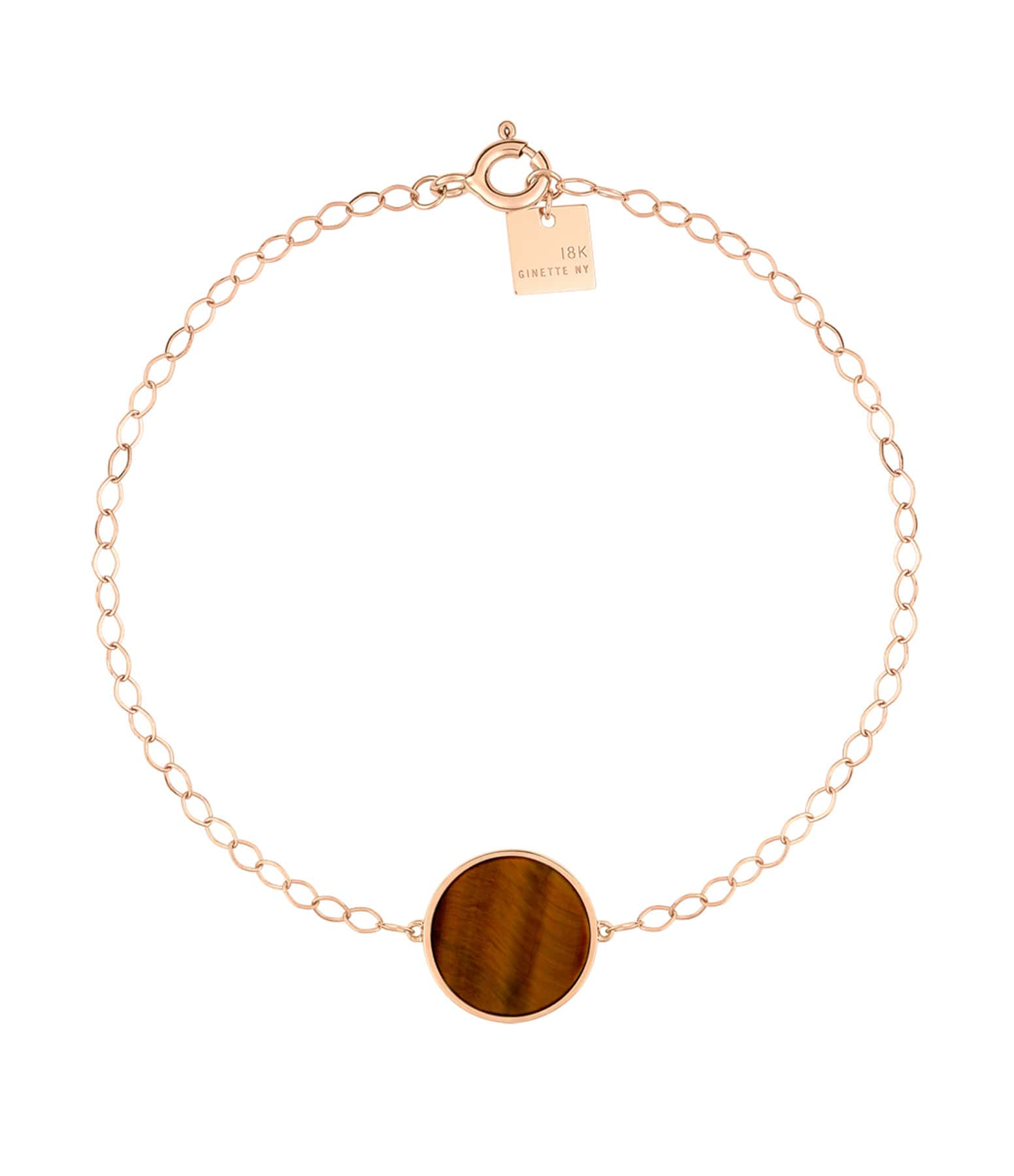 GINETTE NY - Bracelet Ever Disc Or Rose Œil de Tigre