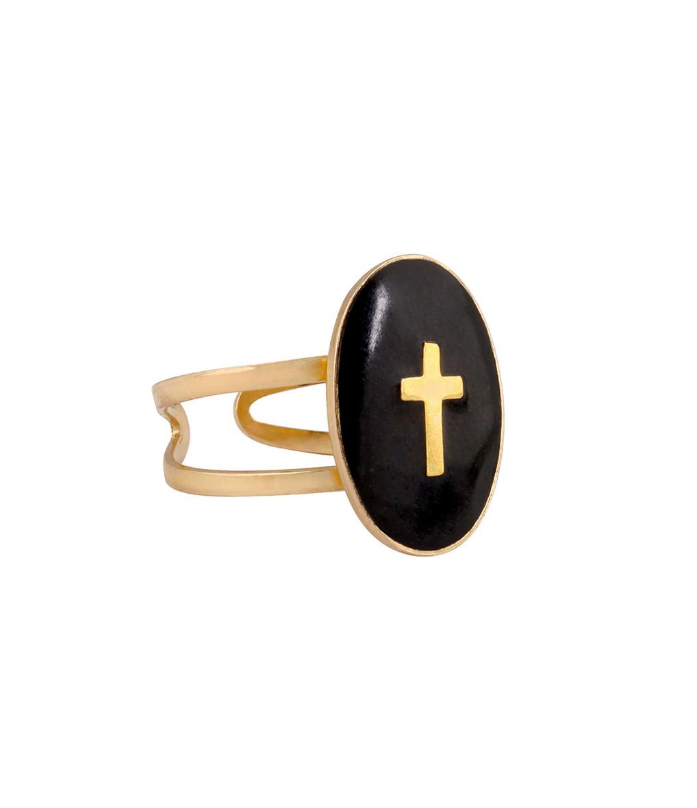 LSONGE - Bague Ovale Croix Noir Plaqué Or