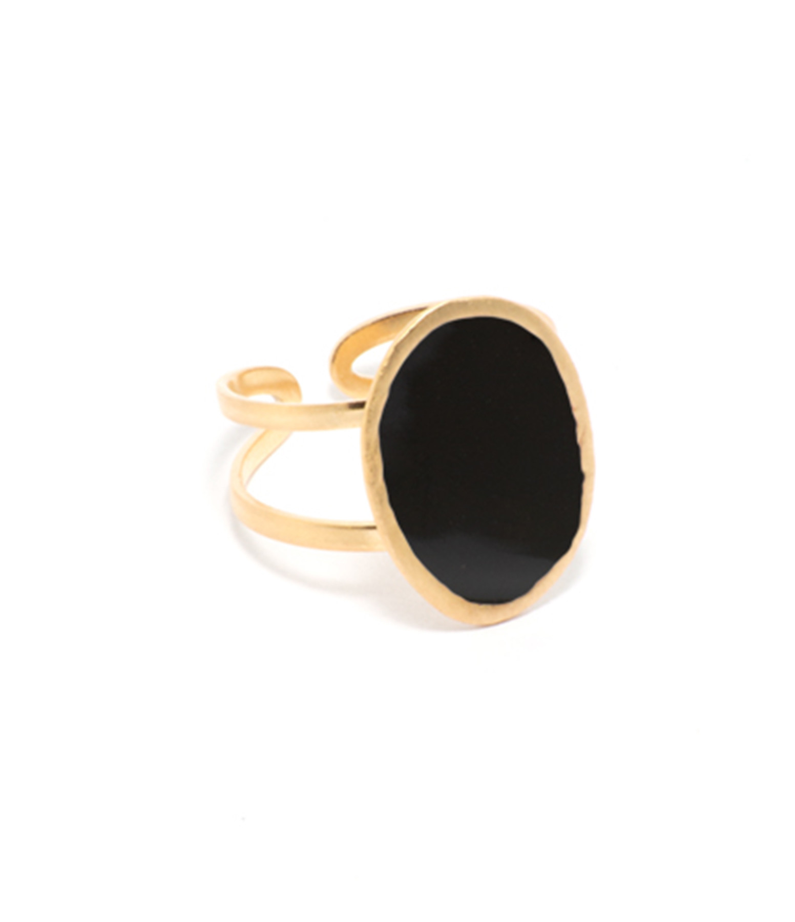 LSONGE - Bague Lumy Ovale Noir
